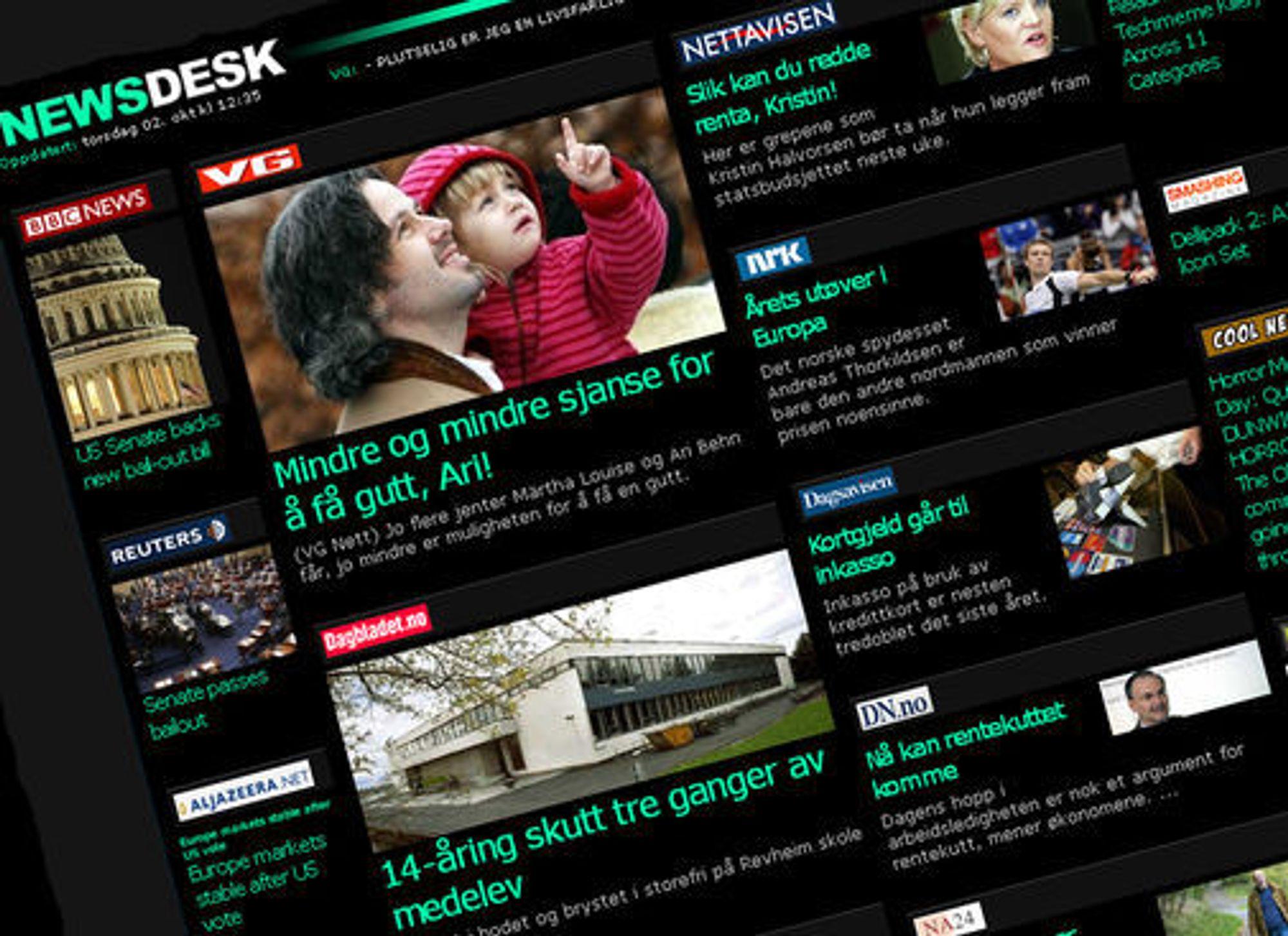 iPhone-utgaven av NewsDesk henter informasjonen sin fra NewsWeb-serveren, og innholdet er også tilgjengelig gjennom en vanlig webside.