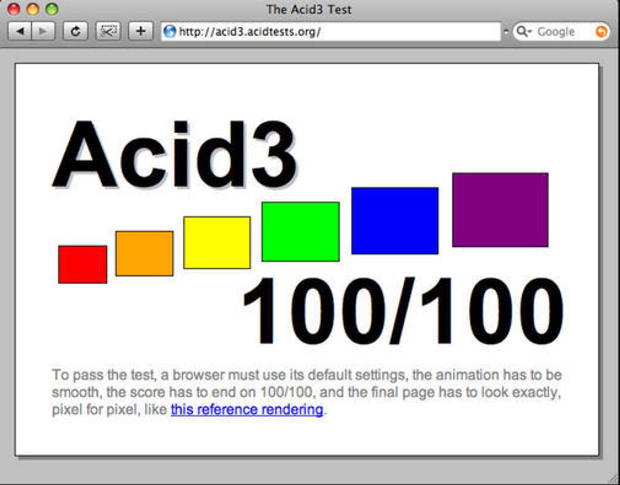 WebKit har nå greid Acid3-testen på alle måter.