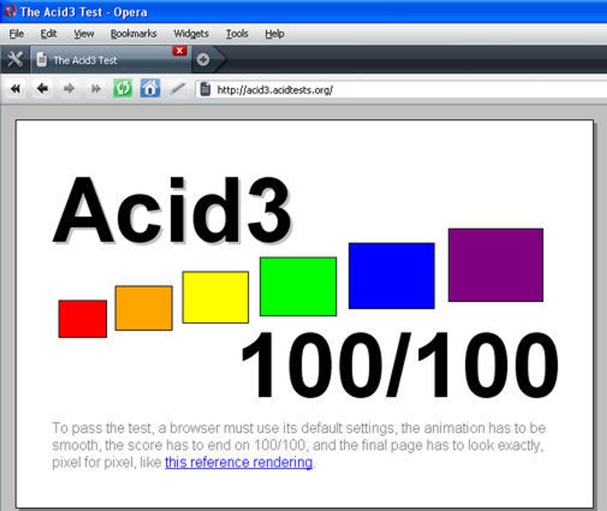 Opera 10 alpha greier Acid3-testen uten feil.