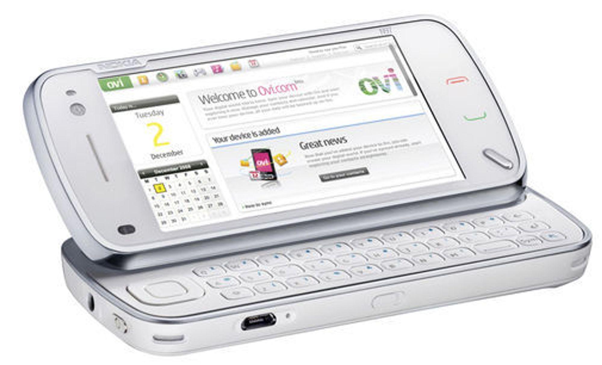 Nokia N97 har  tastatur som kan felles ut.