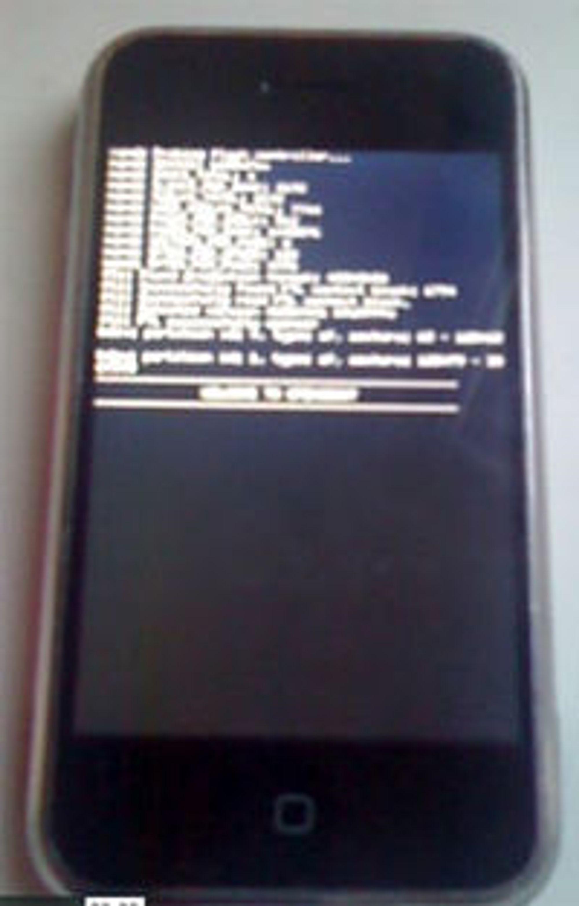 Fra videoen som demonstrerer Linux på iPhone.