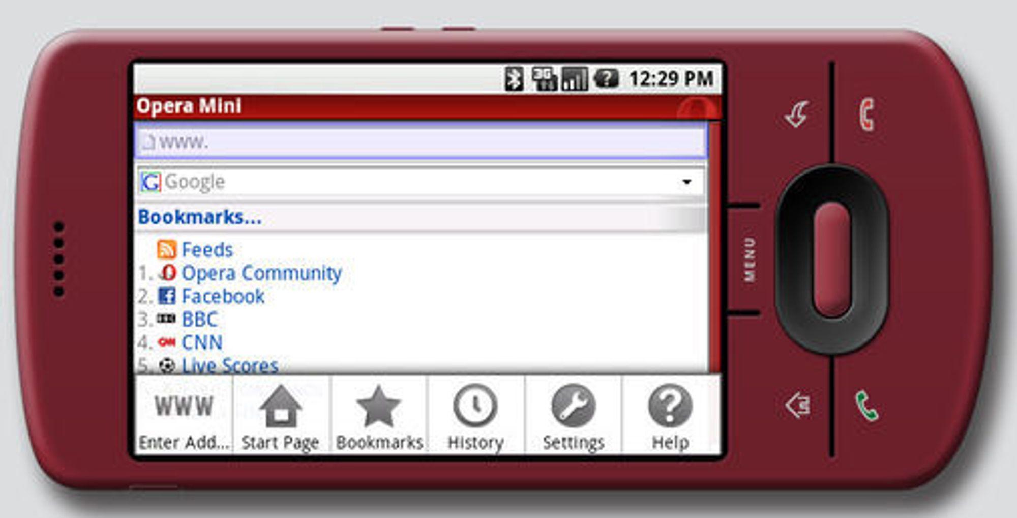 Slik ser Opera Mini ut på en Android-basert mobil.