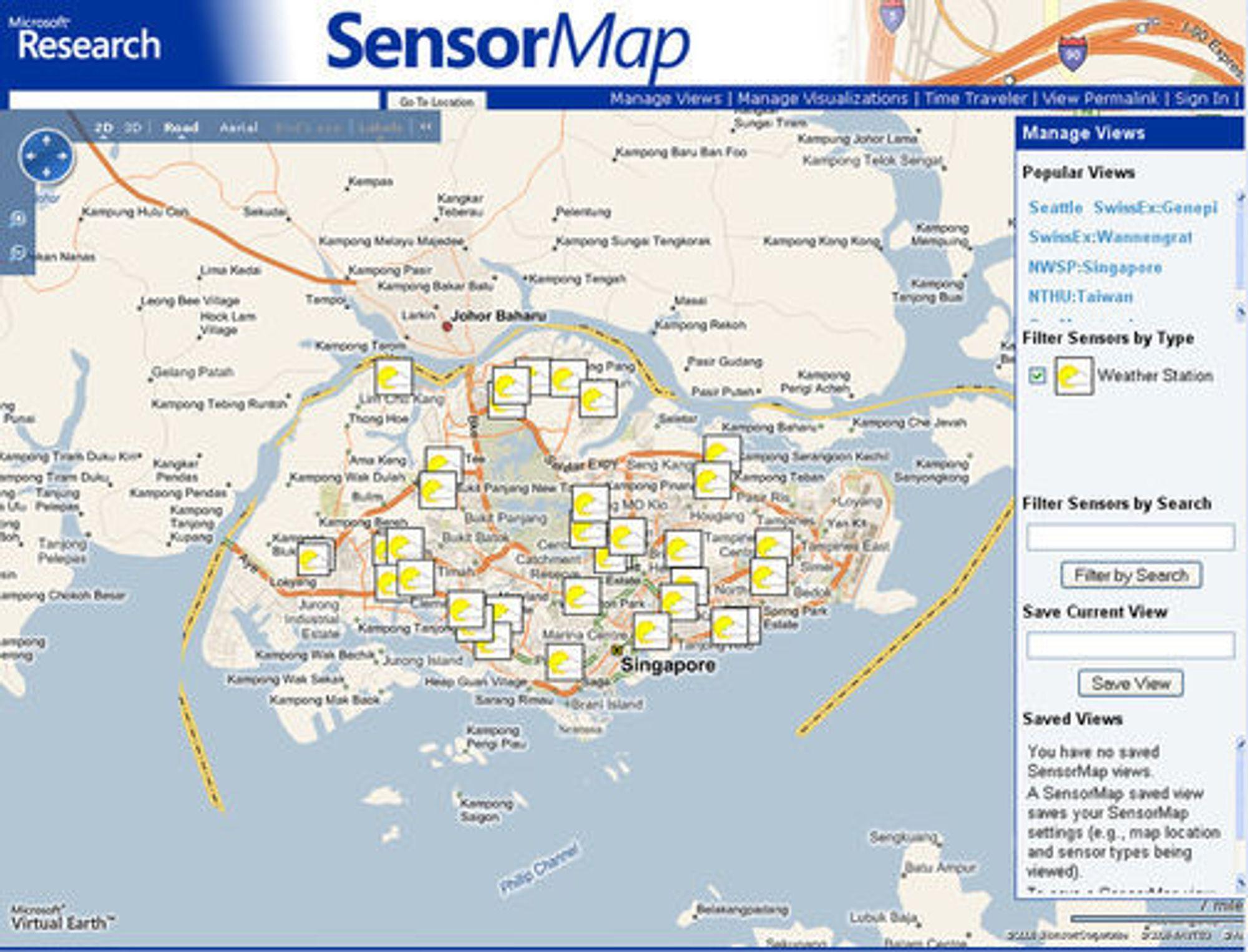 SensorMap - værstasjoner i Singapore