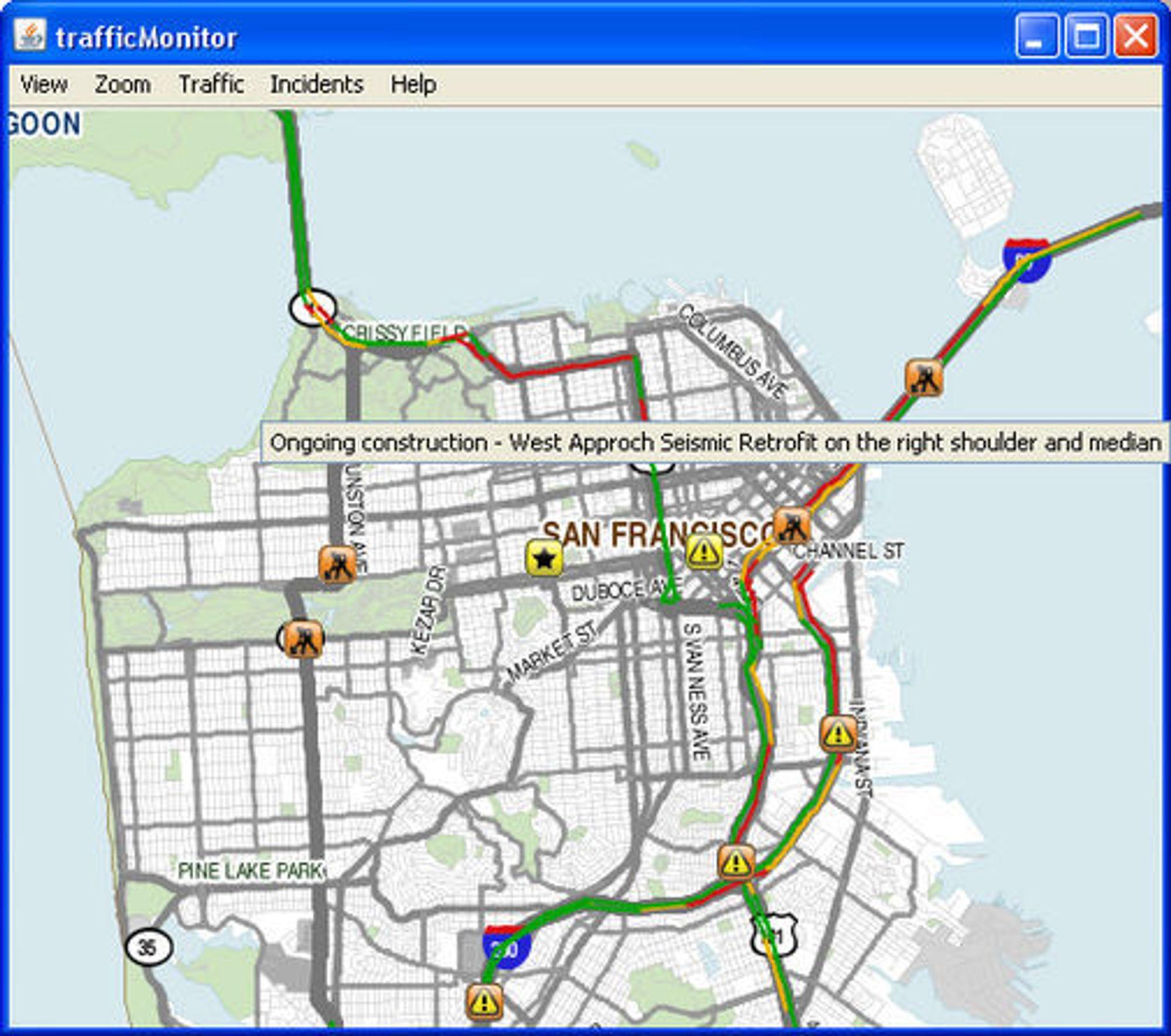 Mobile Milleniums Java-baserte TrafficMonitor med trafikkinformasjon fra San Francisco