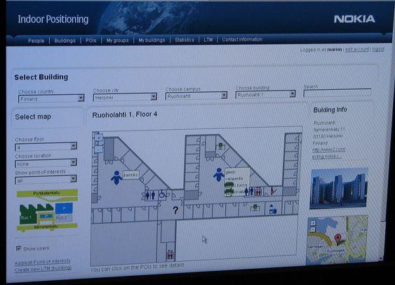 Oversikt over mennesker og fasiliteter ved et Nokia-kontor