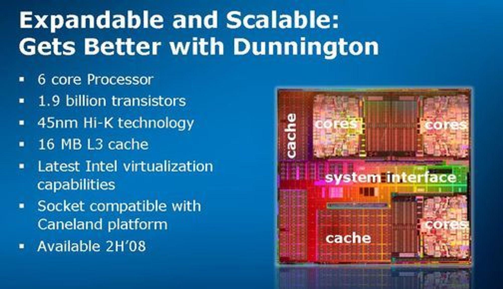 Slik ble Dunnington, siden oomdøpt til Xeon 7400, beskrevet i en presentasjon i mai 2008.