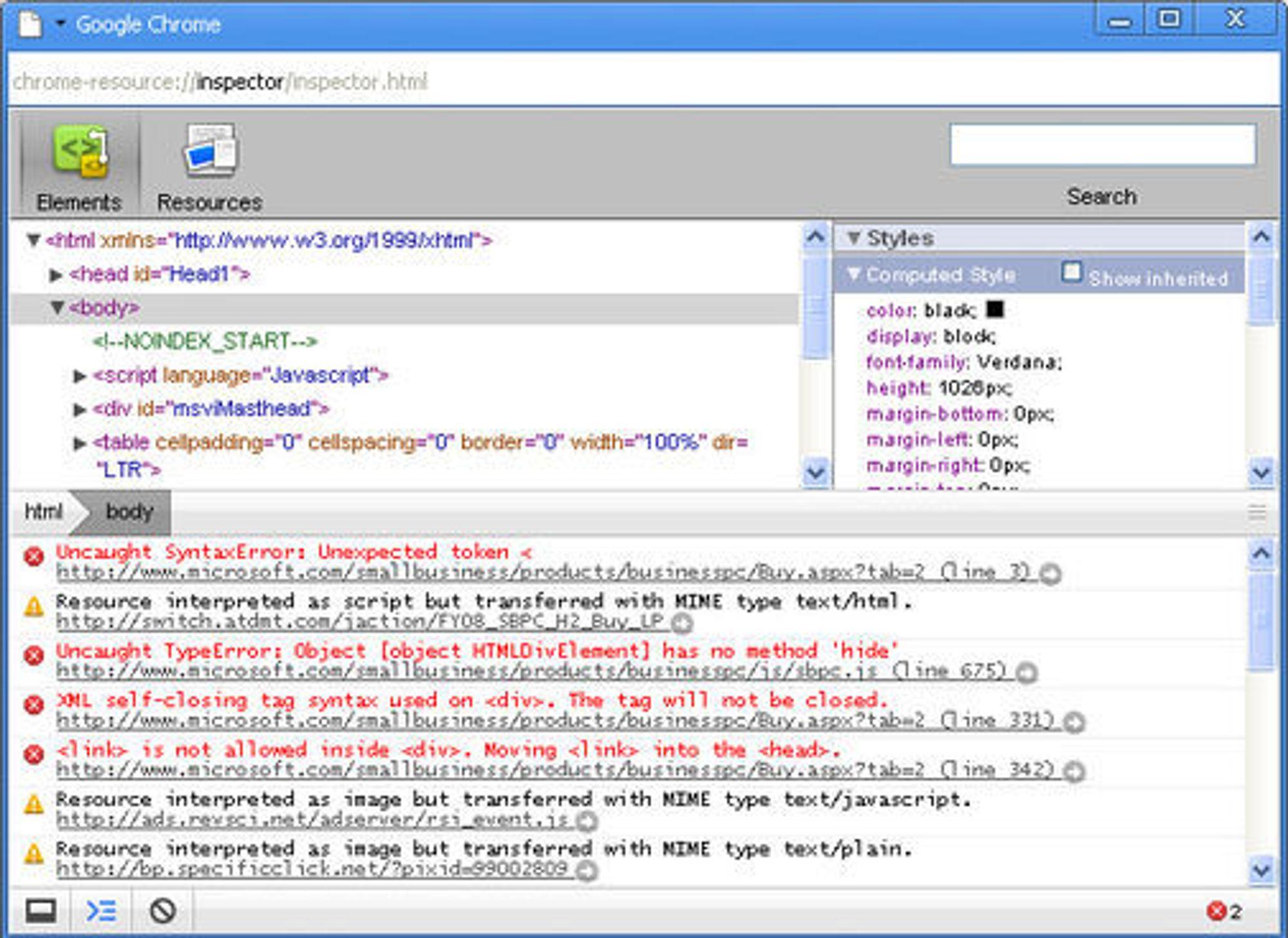 Google Chrome Inspector er et verktøy rettet mot utviklere.