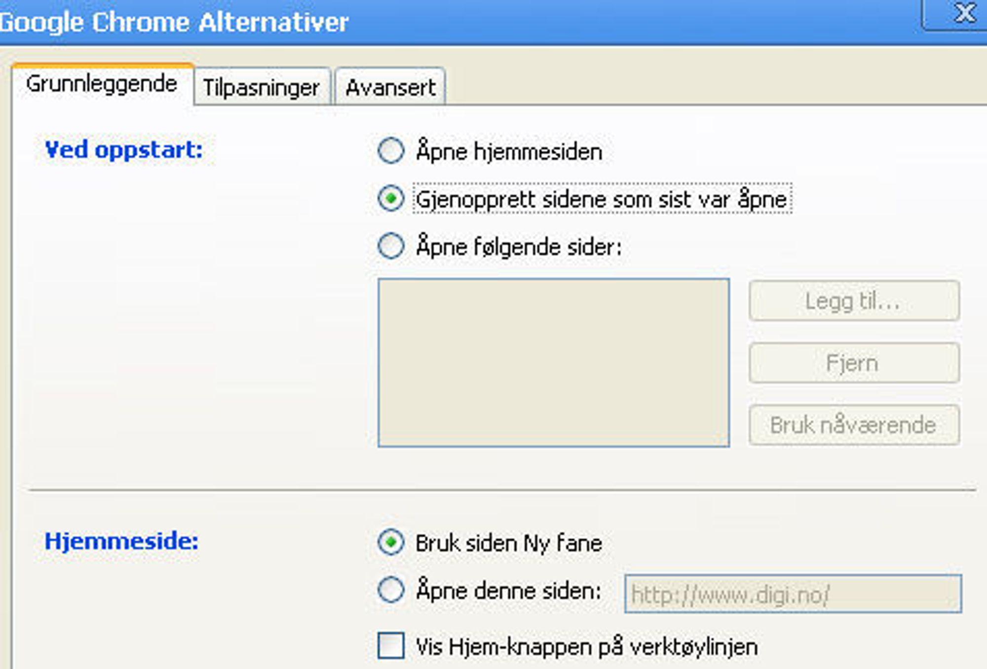 Tilpasning av blant annet oppstarten av Chrome.