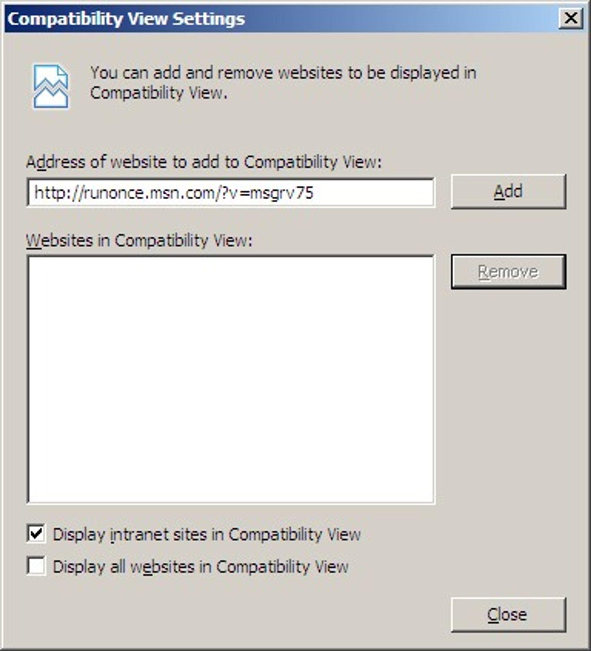 Internet Explorer 8 beta 2 - konfigurasjon av intranett og kompatibilitetsvisning