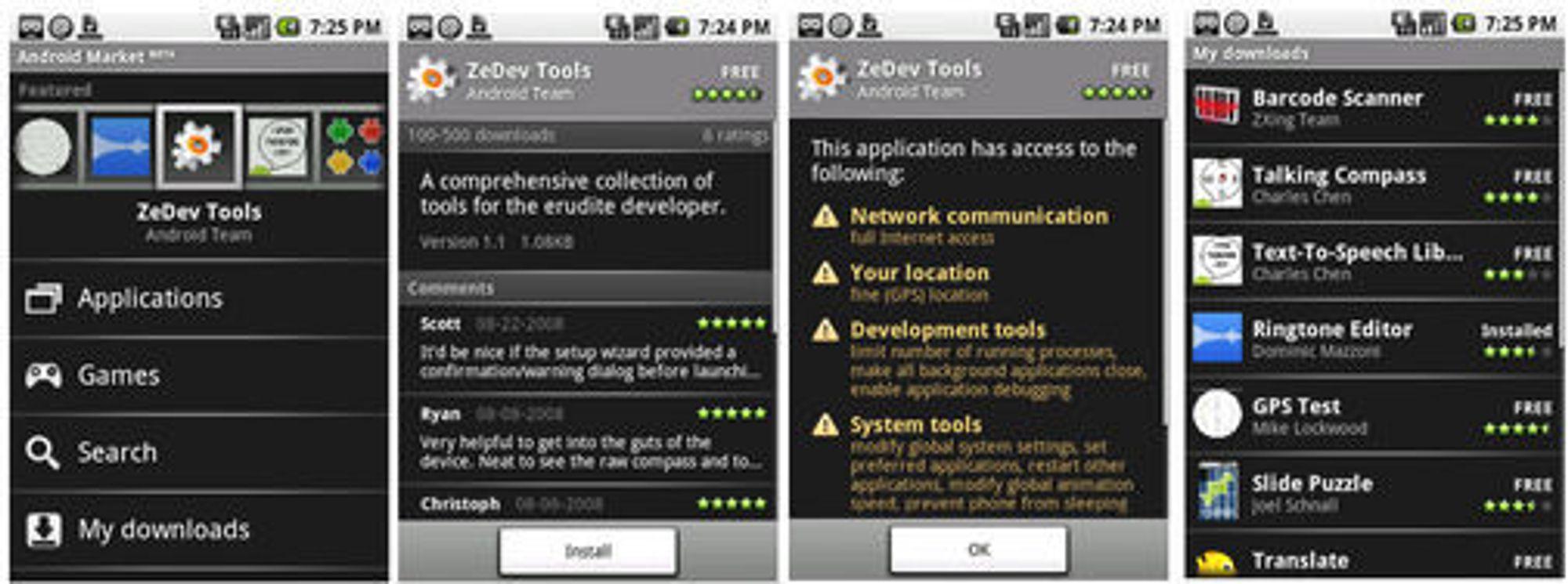 Bilder fra Android Market som beskriver noe av arbeidsflyten og sikkerhetsfunksjonaliteten.