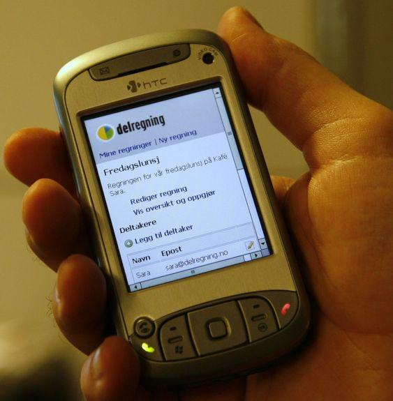 Delregning.no er også tilgjengelig på mobiler med nettlesere.