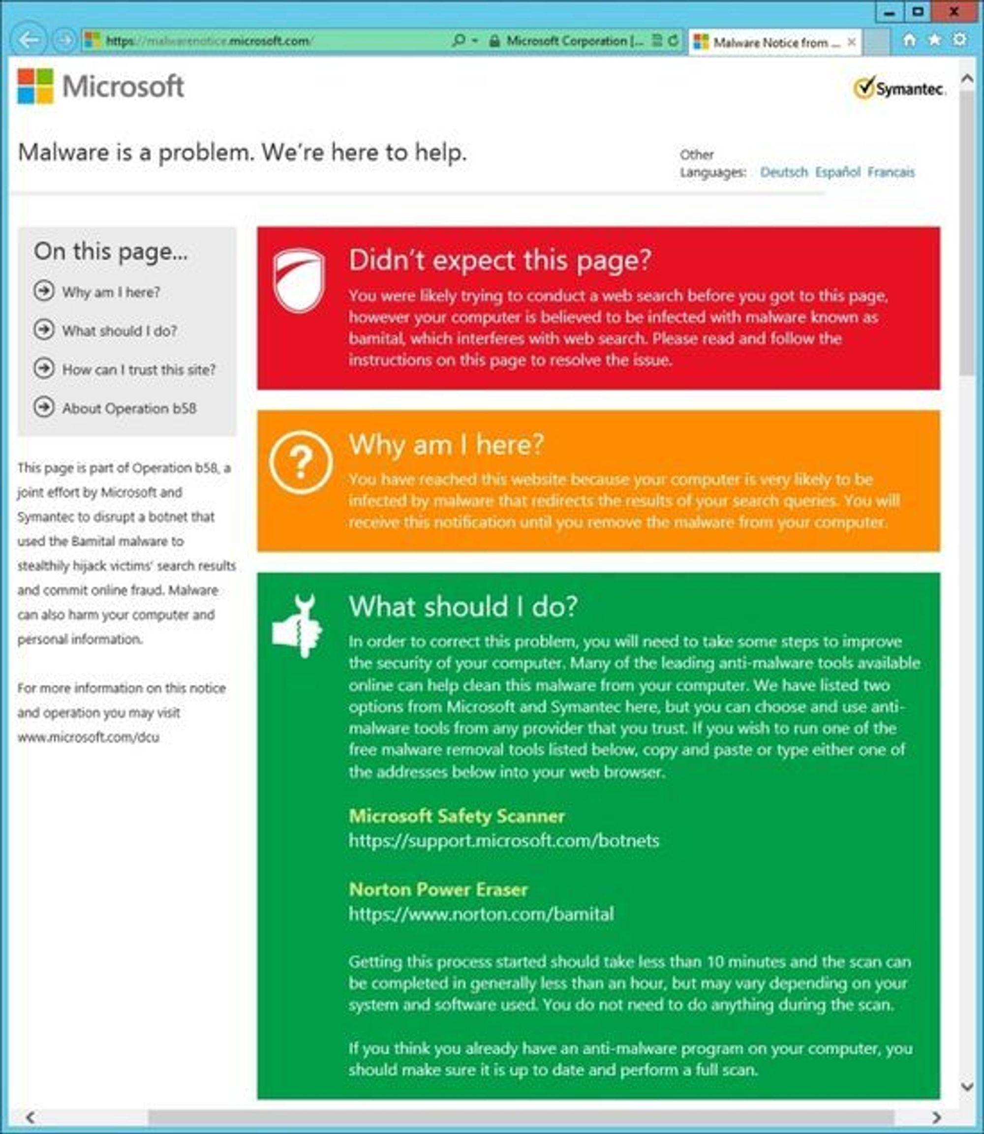 Informasjonsside hos Microsoft om Bamital-nettverket og hvordan dette fjernes.
