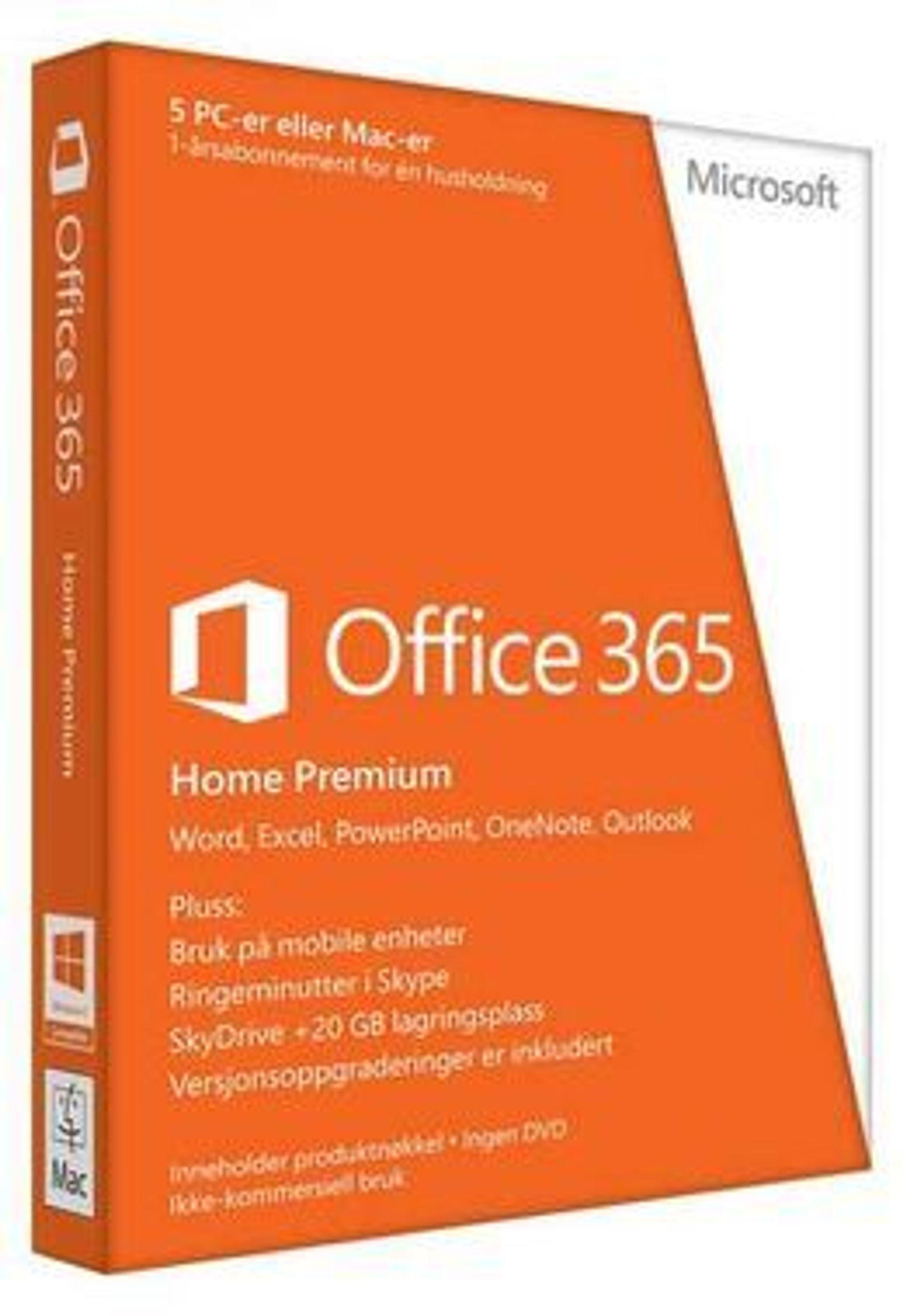Office 365 Home Premium tilbys også på boks. Legg merke til teksten helt nederst: Inneholder produktnøkkel, ingen DVD.