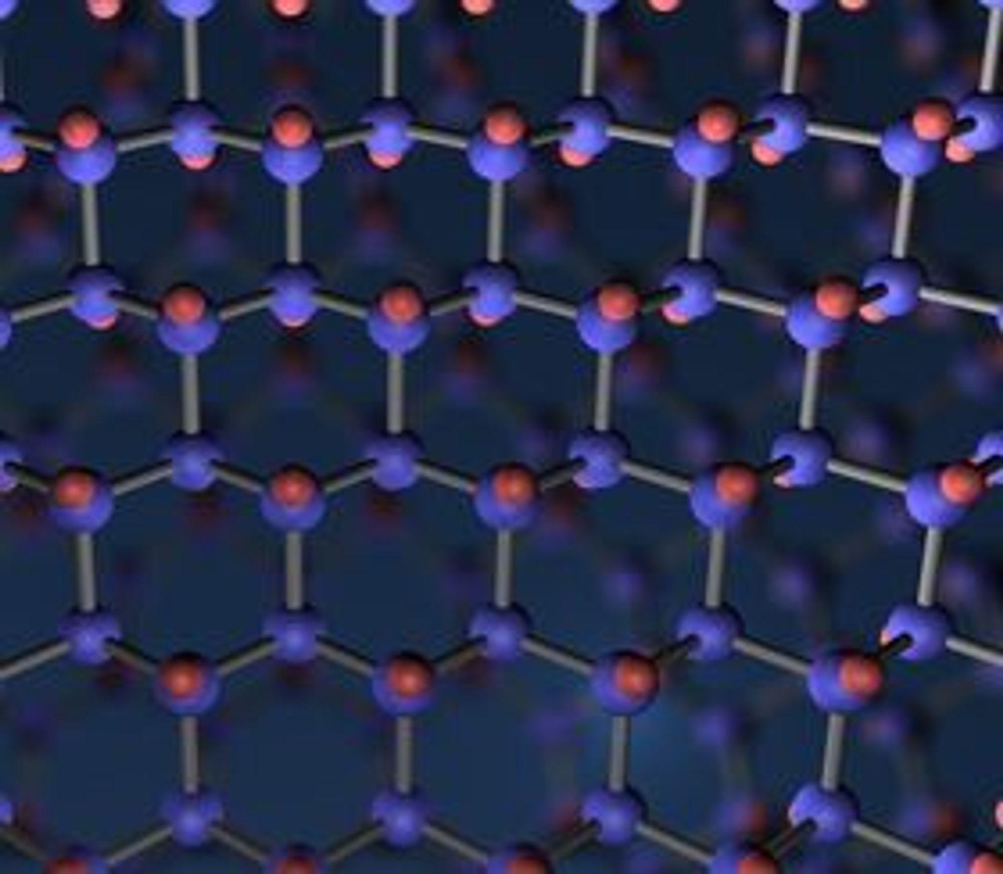 Grafén består karbonatomer som danner et bikake-lignende mønster som vanligvis er bare ett atom tykt.