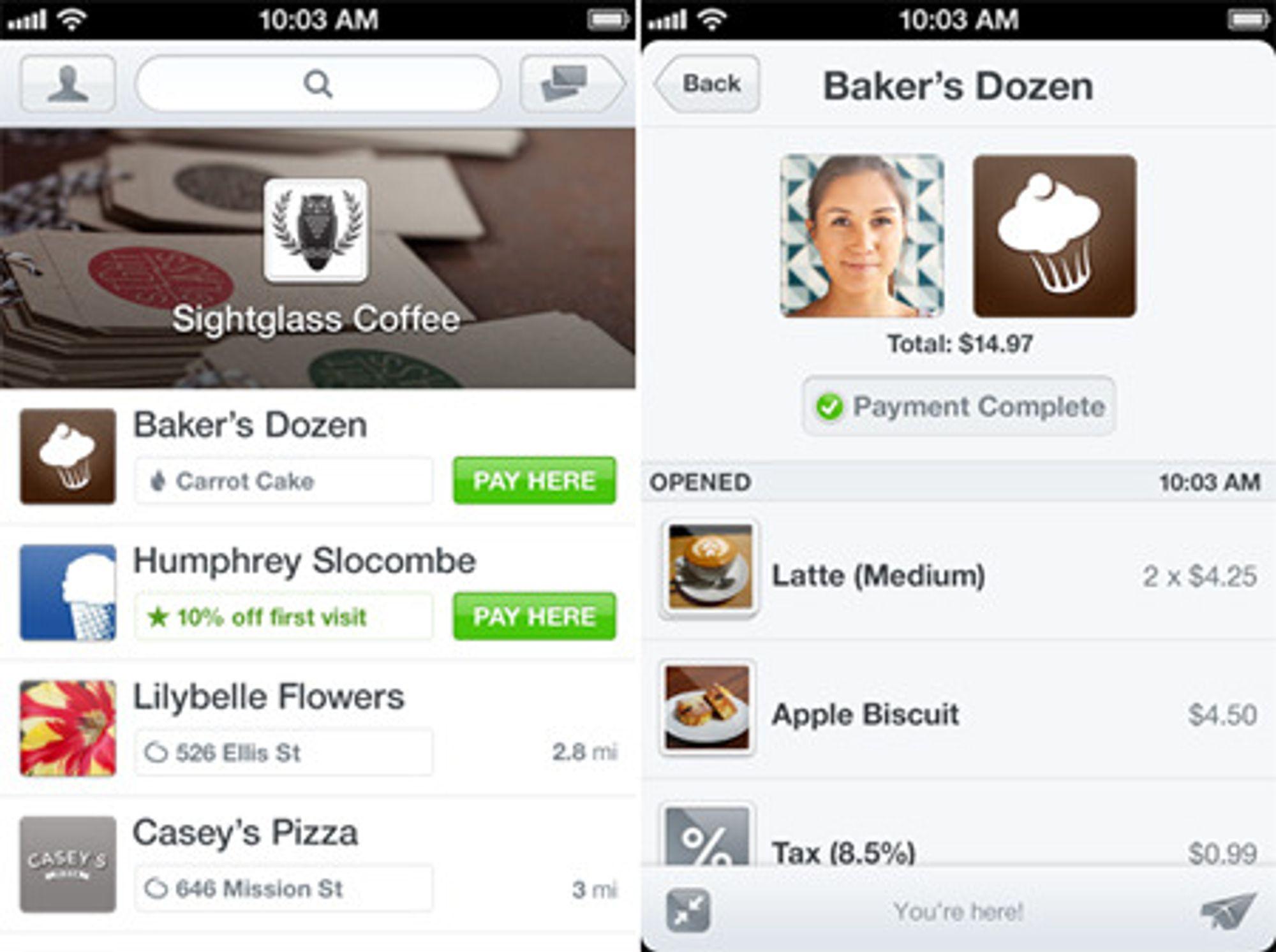 Betaling gjennom nettskyen innebærer at man installerer en app og oppretter en konto med navn, passord og kredittkortnummer. Appen sanser hvor du befinner deg, og foreslår butikker i nærområde som godtar appen som betalingsformidler. Her velges Baker's Dozen. Kassebetjeningen sjekker at navn og bilde stemmer, og godtar betalingen.