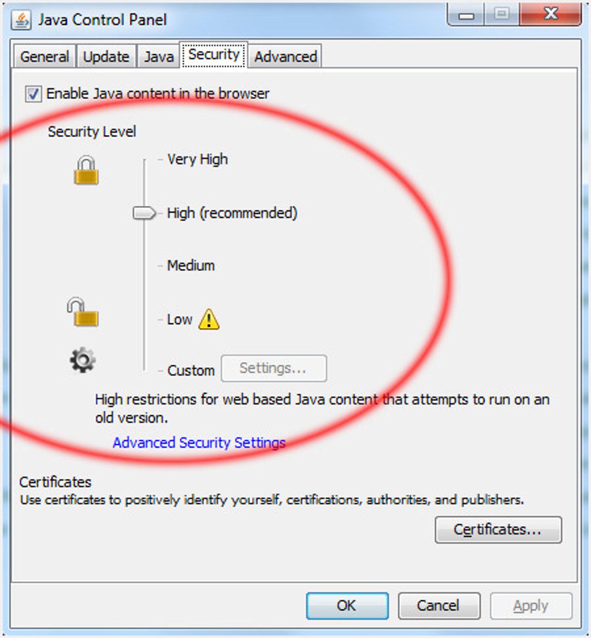 Standard sikkerhetsnivå i Java 7 ble økt fra Medium til High med den nyeste oppdateringen.