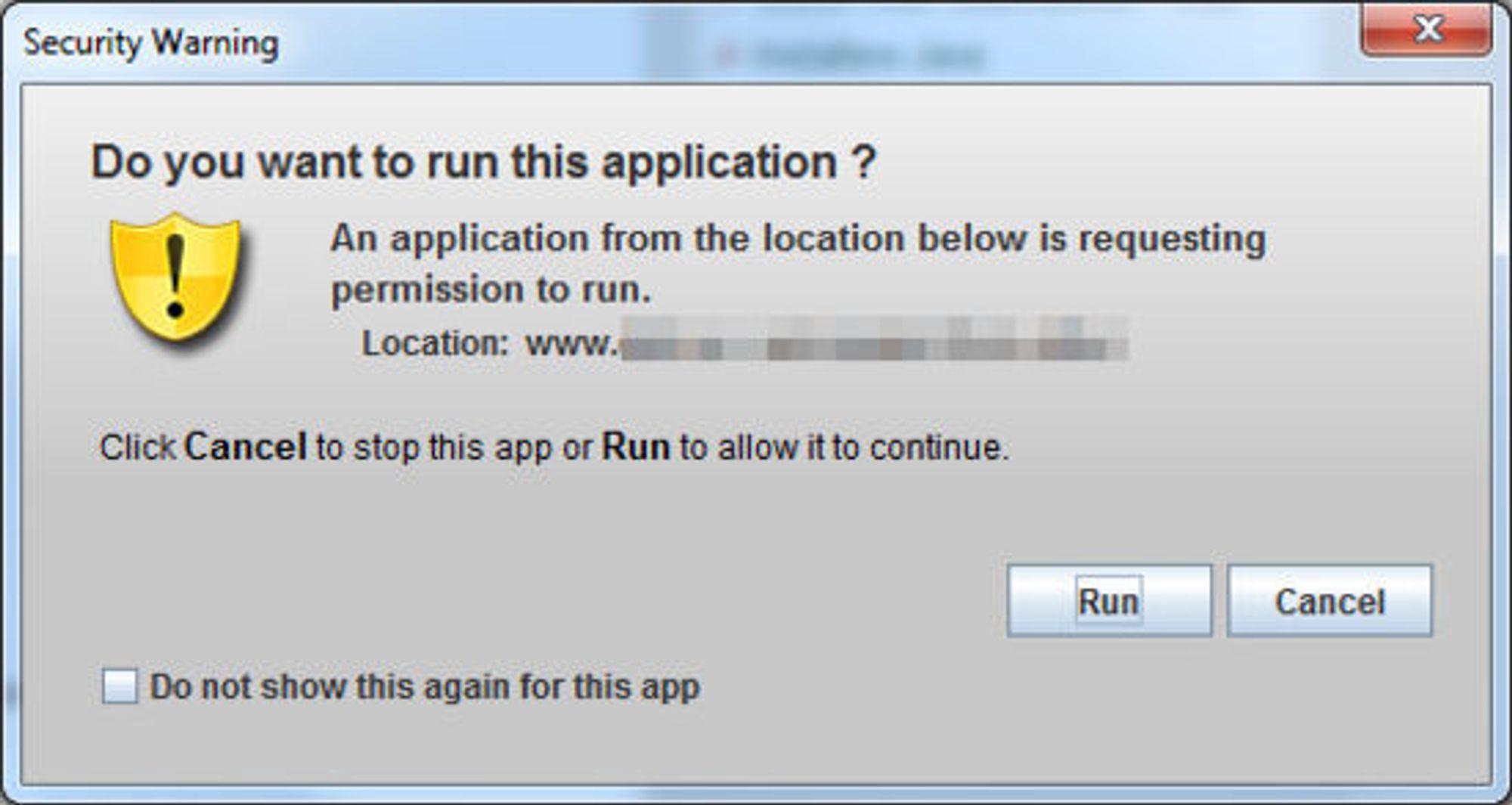En slik advarsel får brukerne av BankID når de bruker Java 7 update 11 og besøker for eksempel nettbanken.