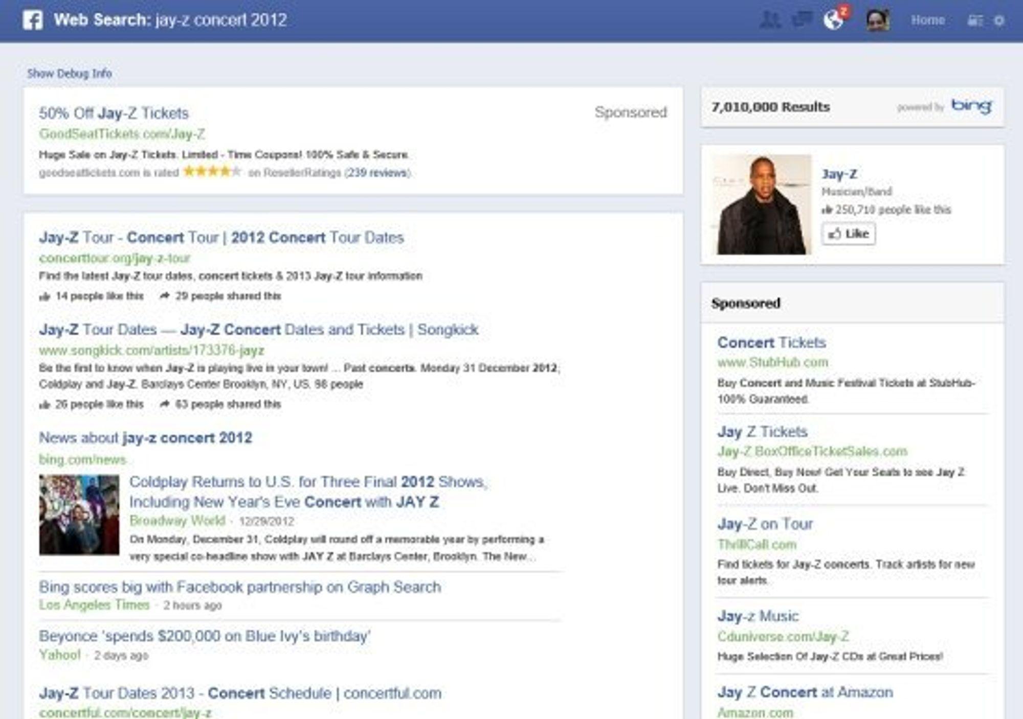 Resultatene fra Bing-søket vises til venstre, mens Facebooks egne treff vises til høyre.