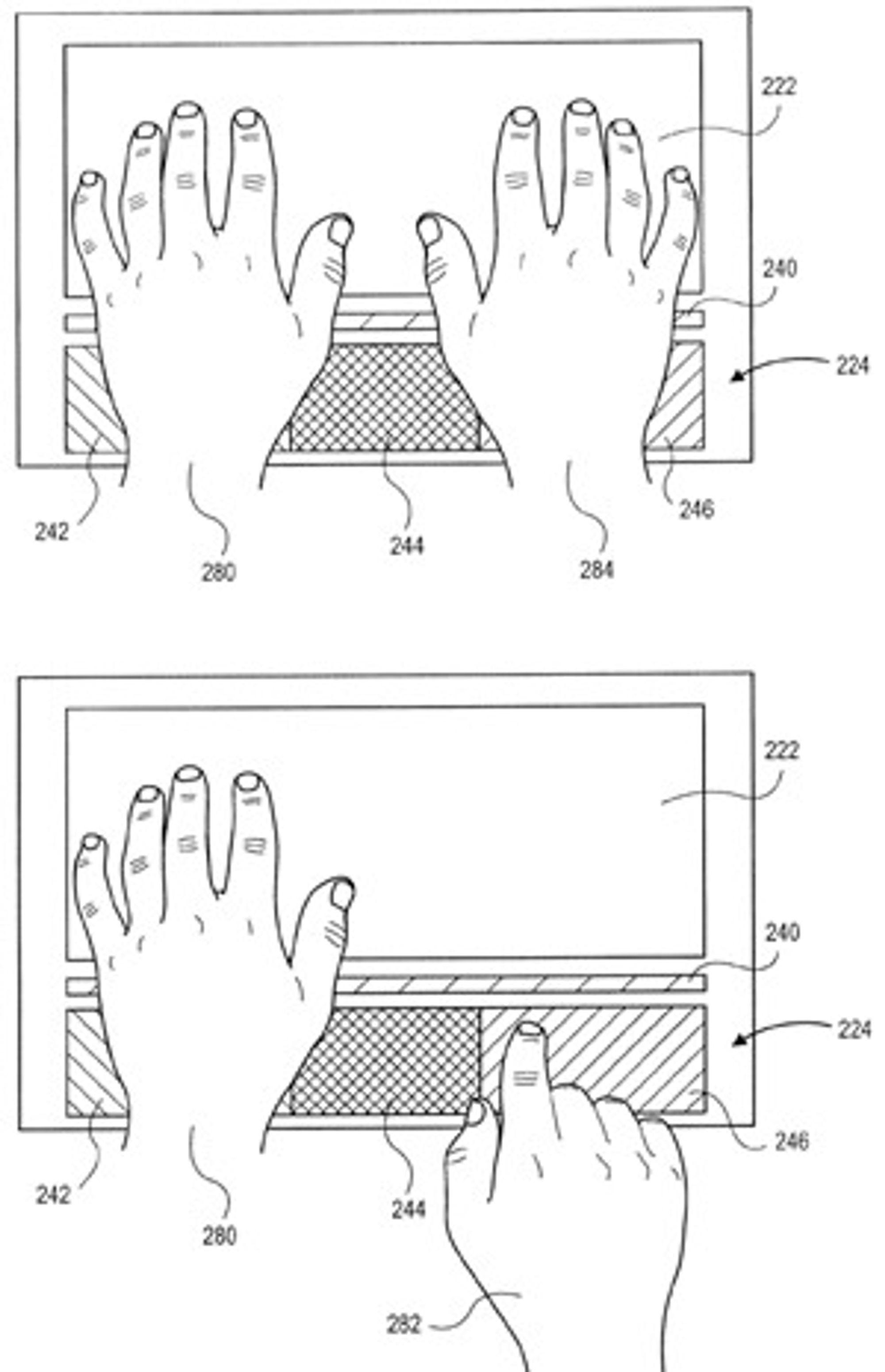 I denne varianten av Apples oppfinnelse er det en lang og smal sensor (240) som merker seg hvor hendene er og som justerer følsomheten til ulike områder på styreflaten deretter. Her er styreflaten delt i tre logiske områder (242, 244, 246).