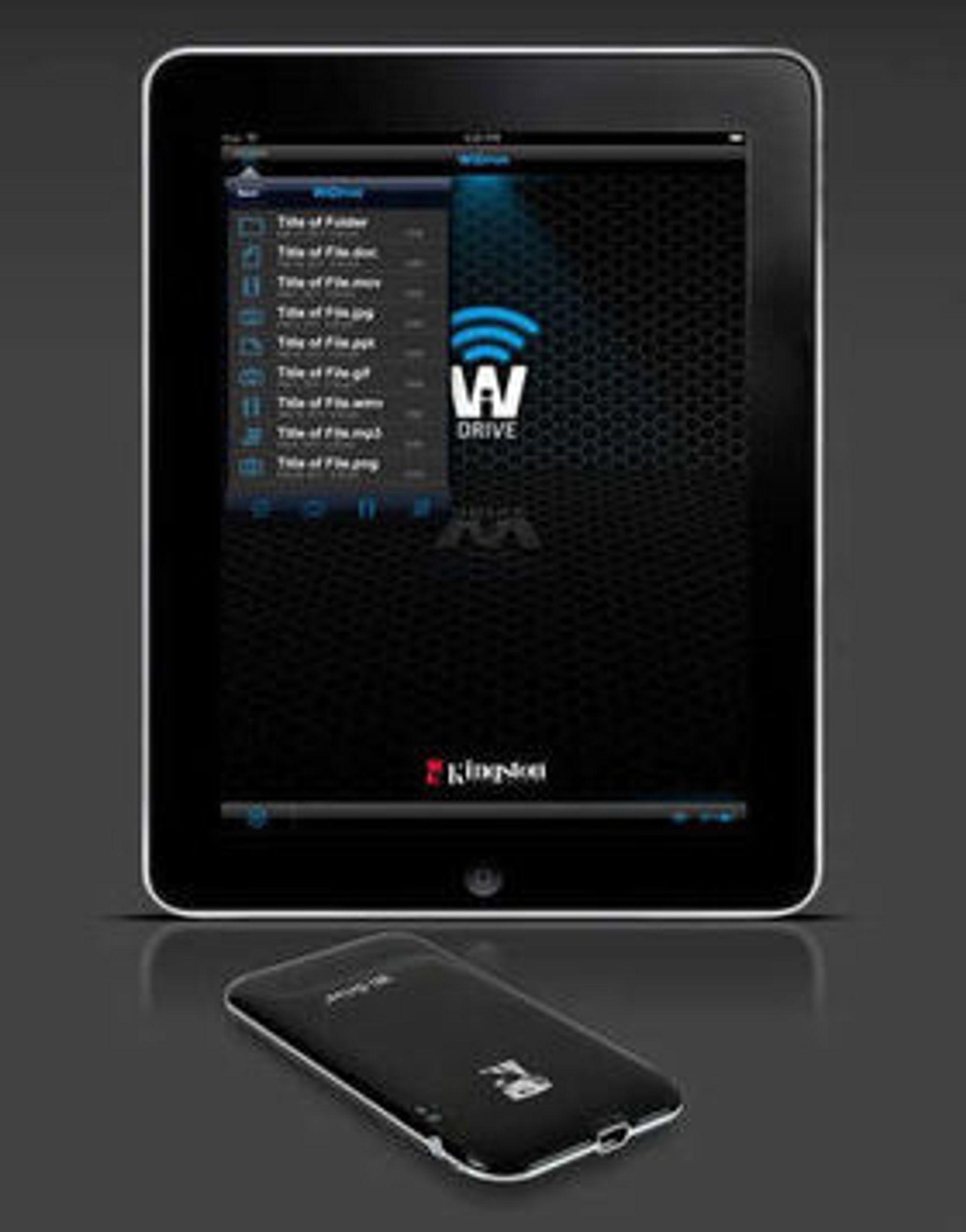 Wi-Drive gir utvidet lagring til enheter uten USB-utgang, ved å opprette en direkte WLAN-forbindelse. Lagringen styres av en app.