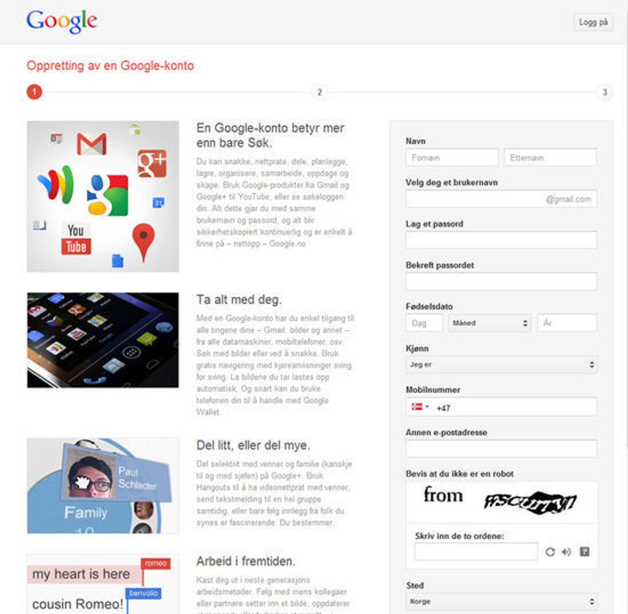 Nytt skjema for registrering av Google-konto.