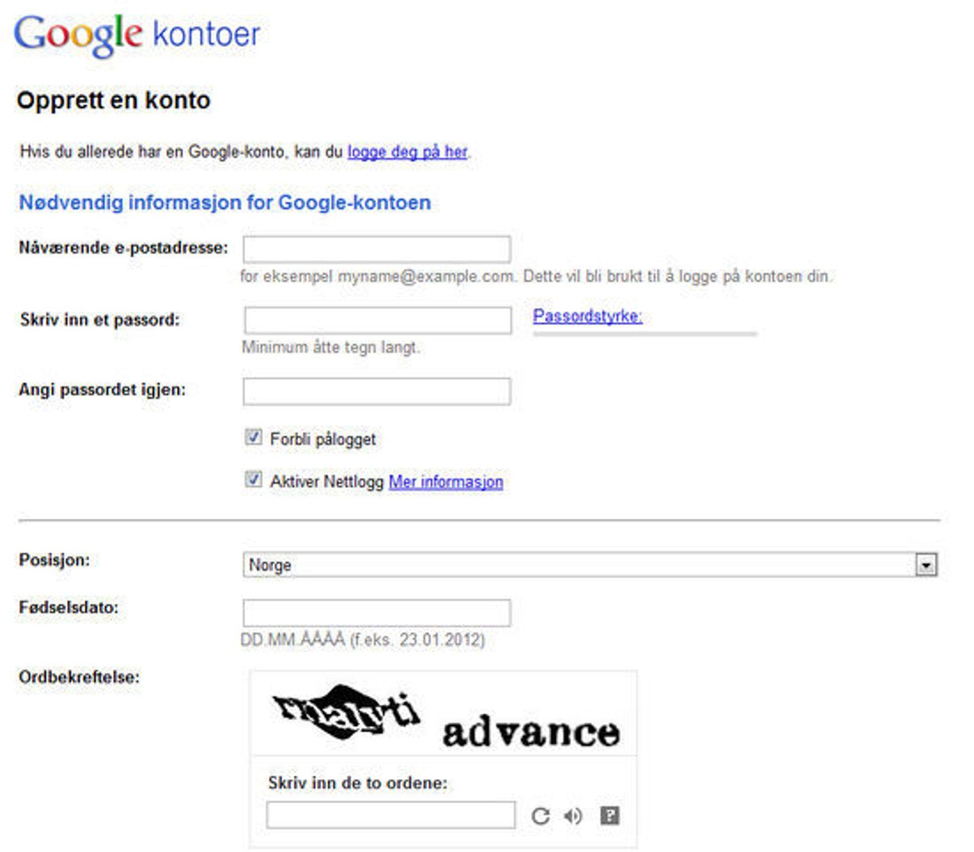 Det opprinnelige skjemaet for registrering av Google-konto