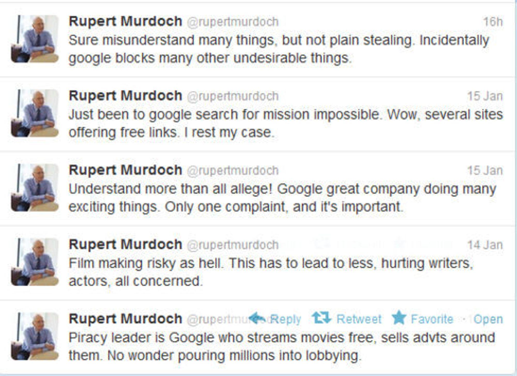 Murdoch går rett i klingen på Google på Twitter.