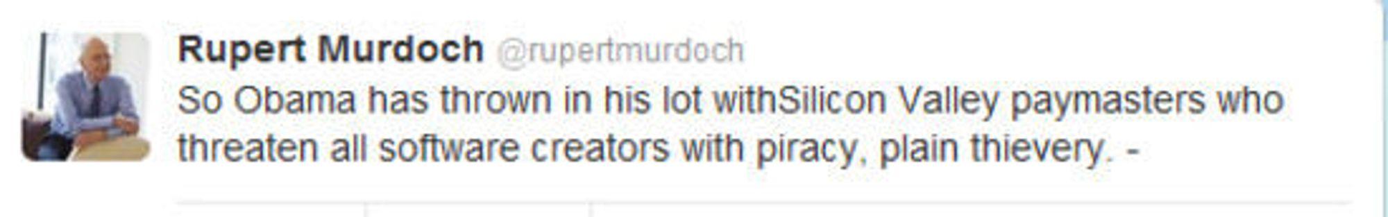 Faksimile fra Murdochs twitter-feed.