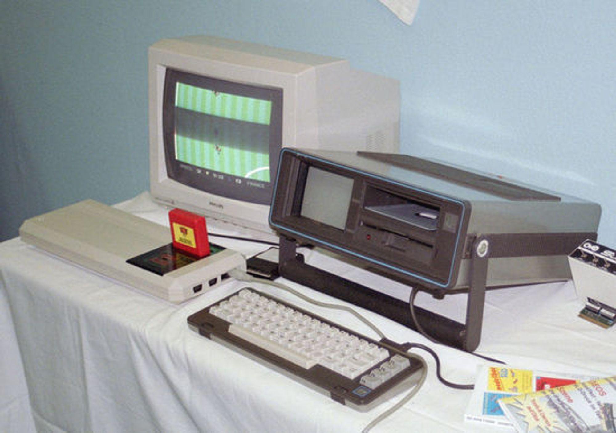 Spillkonsollen Commodore C64GS og den bærbare SX-64.