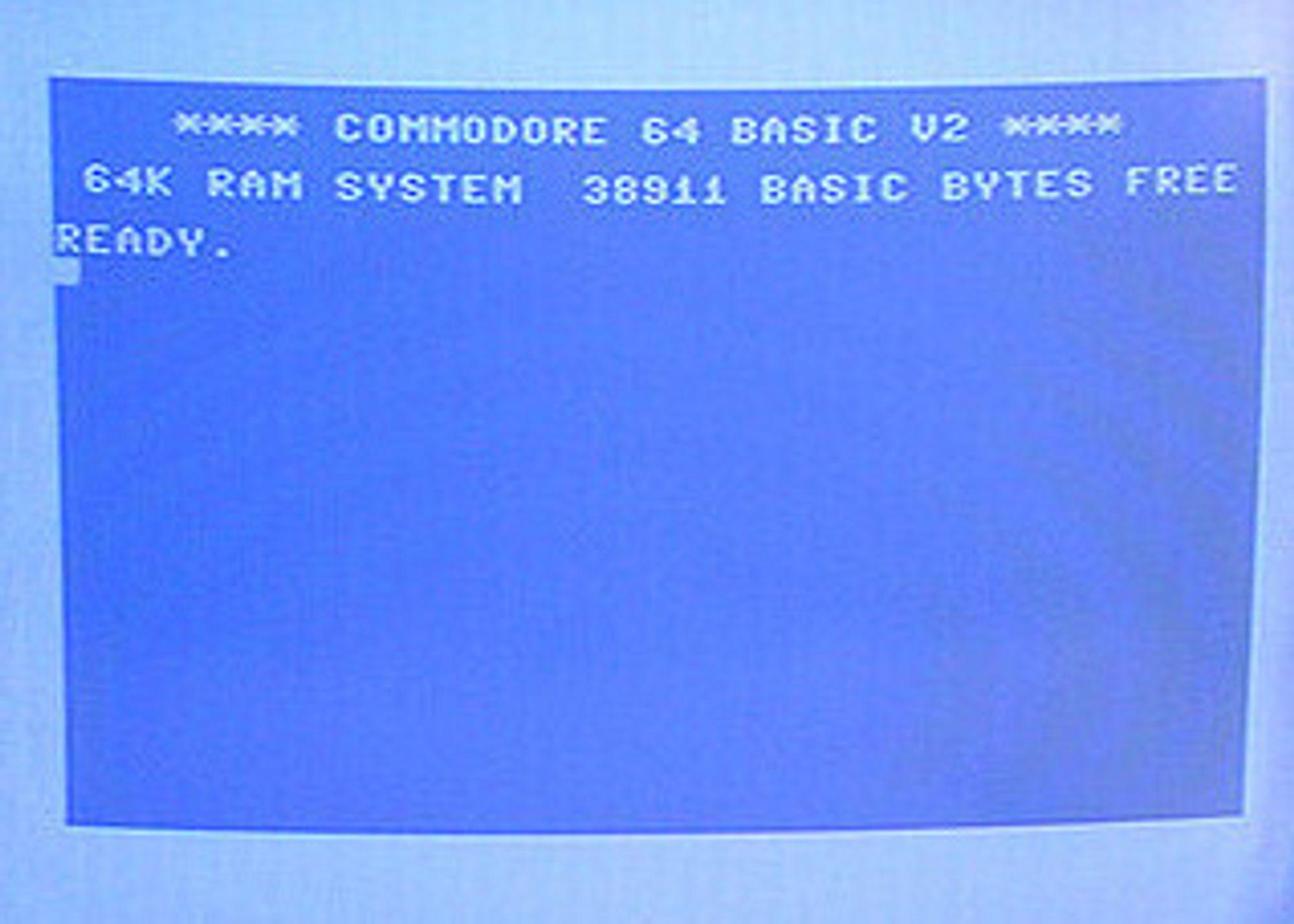 Oppstartsskjermen på en Commodore 64