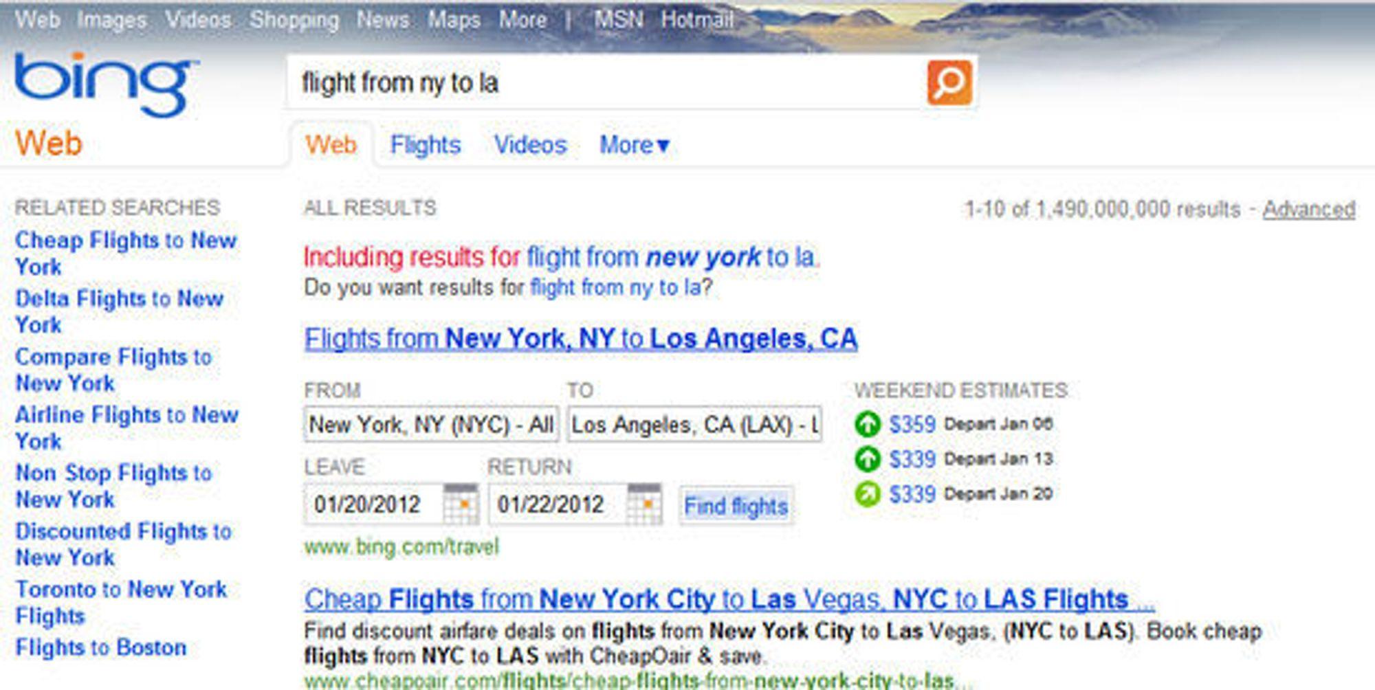 Også Microsofts Bing prioriterer Bings egen reisetjeneste i søkeresultatene.