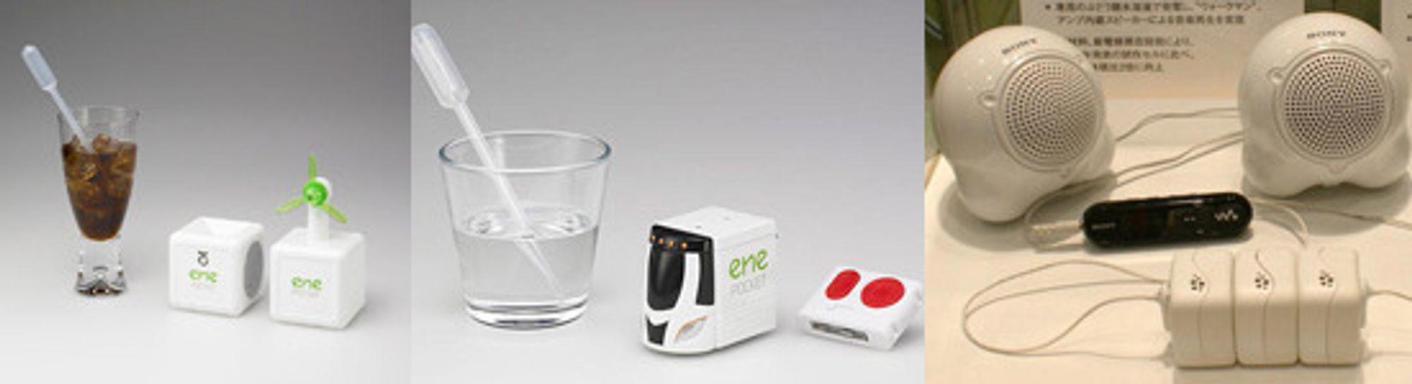 Fra tidligere demonstrasjoner av biobatteriet: En propell går på cola, en fjernstyring til en lekebil går på sukkervann, tre biobatterier driver en MP3-spiller med høyttalere.