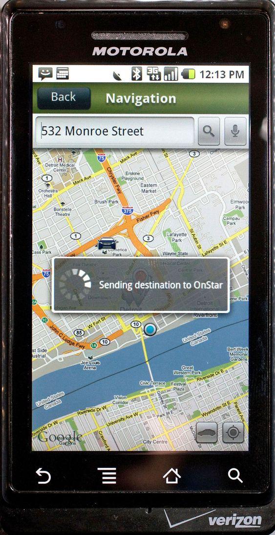 OnStar Mobile sender destinasjon på kartet til OnStar-systemet i bilen.