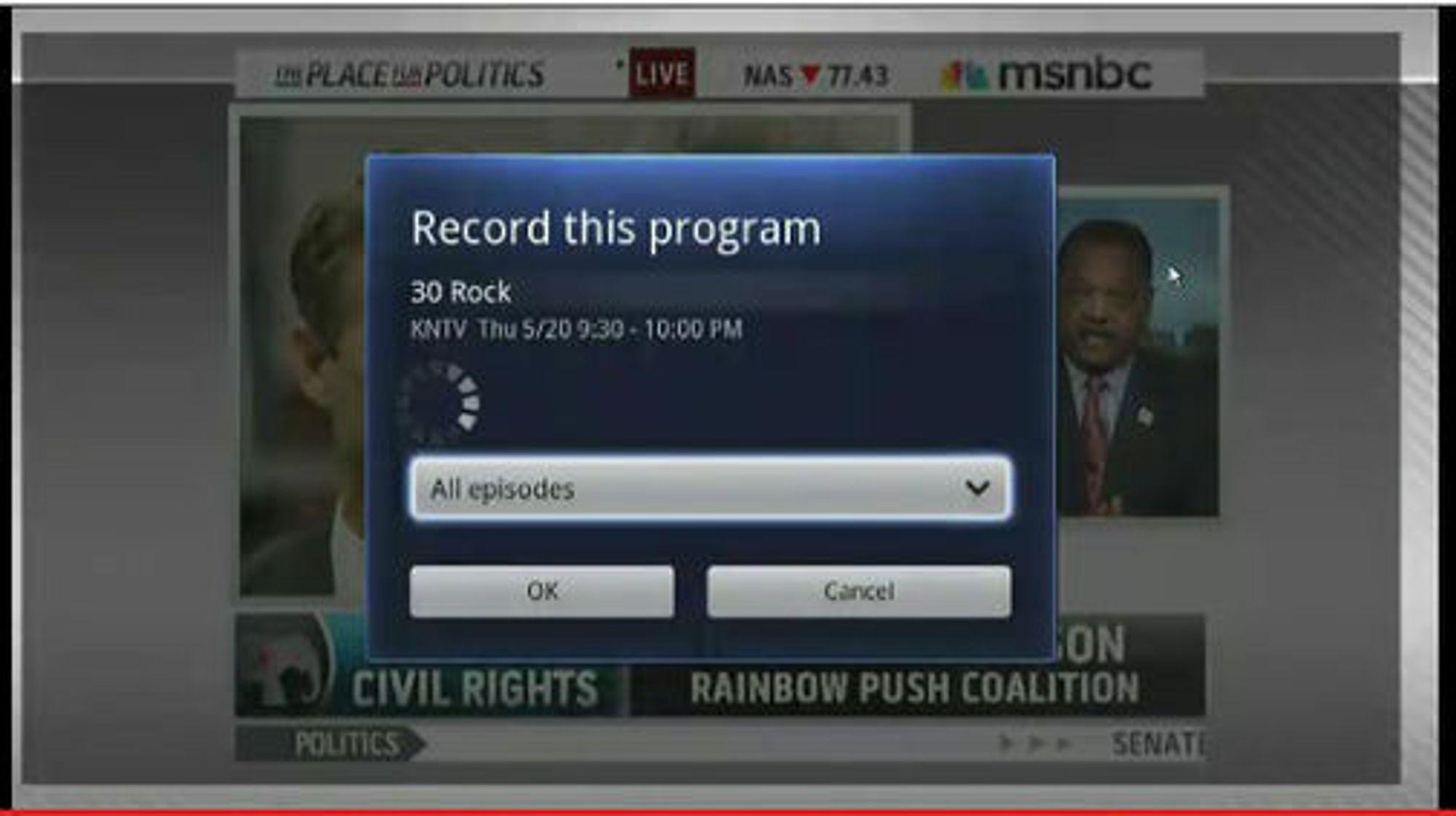 Menyen for opptak av tv-programmer i Google TV.