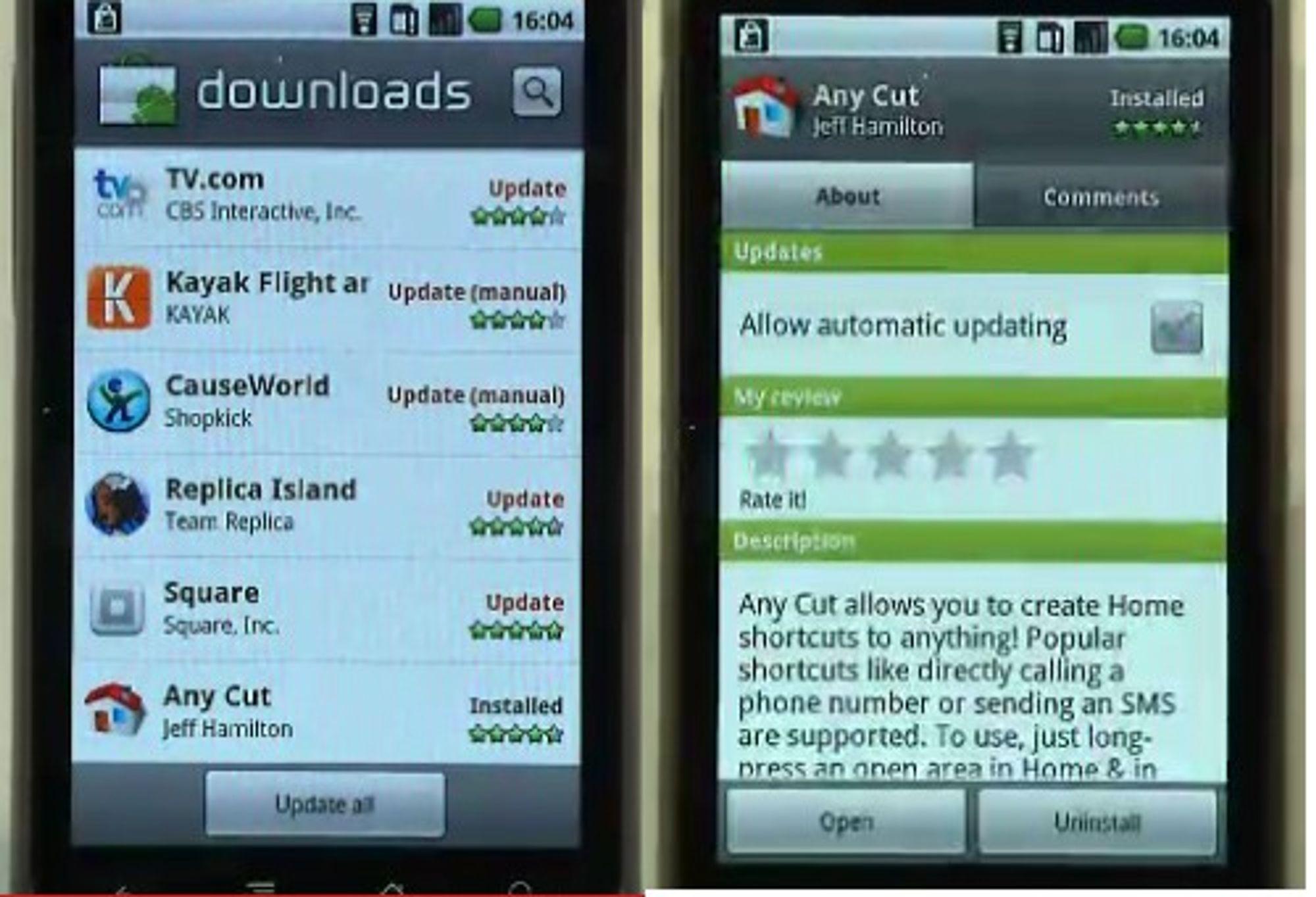 I Android 2.2 kan man oppdatere alle applikasjonene med ett trykk på skjermen eller tillate at oppdateringene gjøres automatisk.