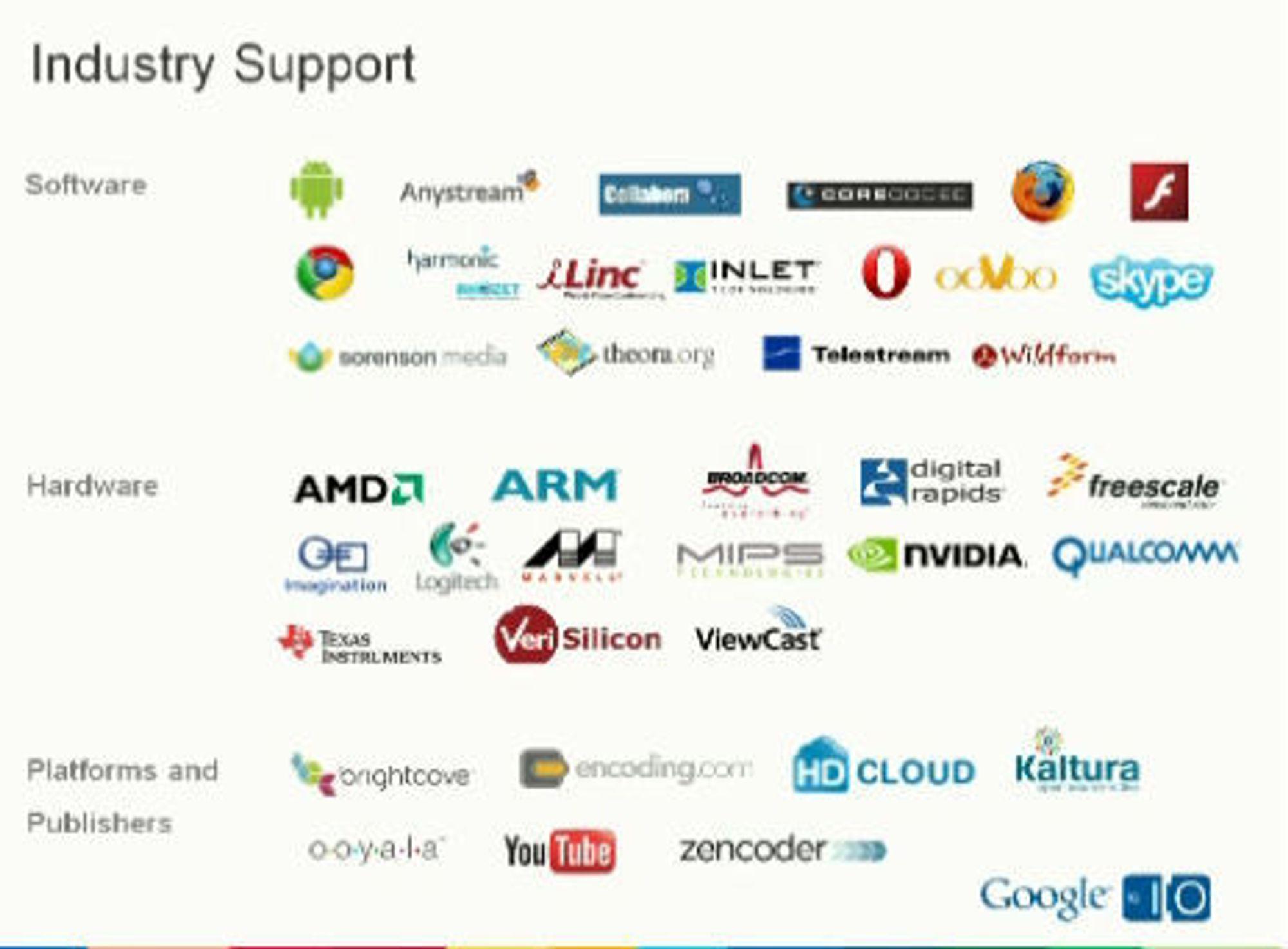 Selskaper som støtter WebM.