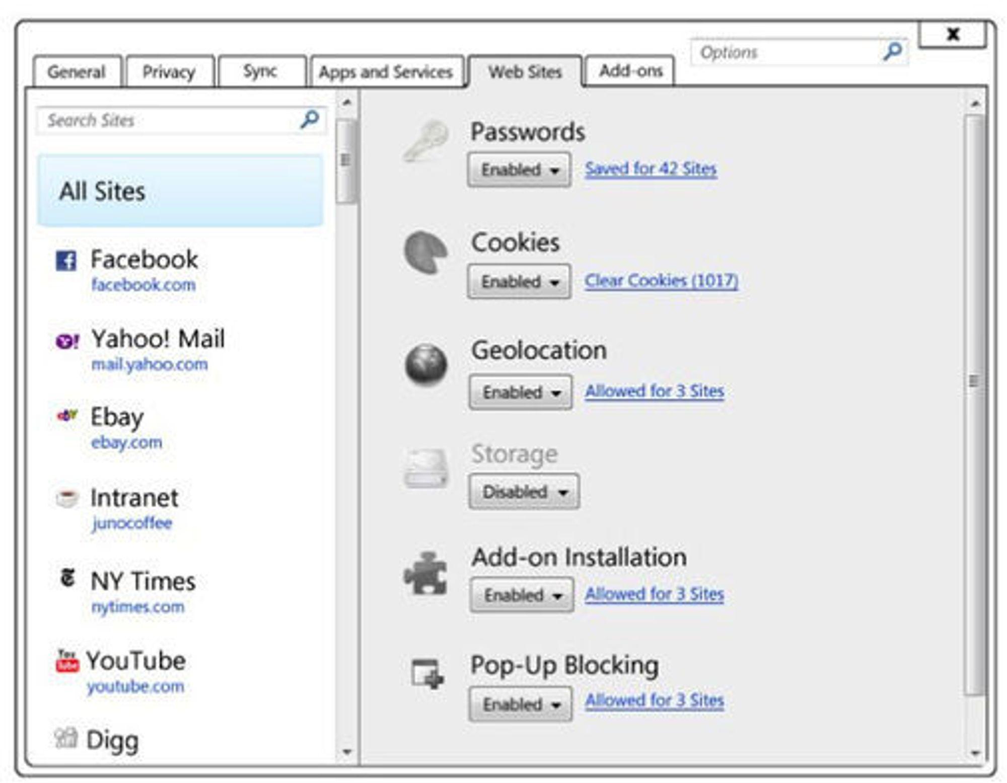 Verktøy for å administrere innstillinger for enkeltnettsteder i Firefox 4.0.
