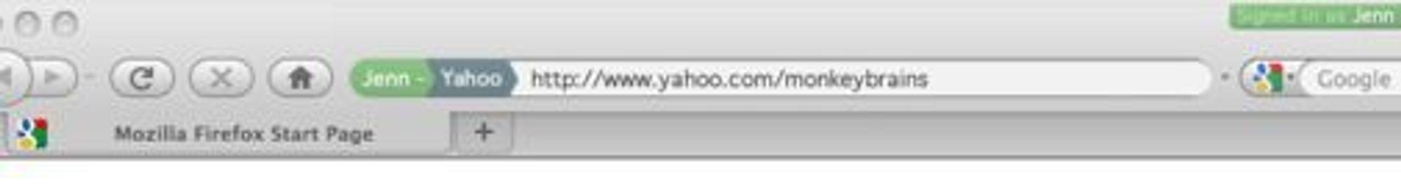 Foreløpig forslag til hvordan brukeren kan se hvilken konto man er logget inn med i Firefox 4.