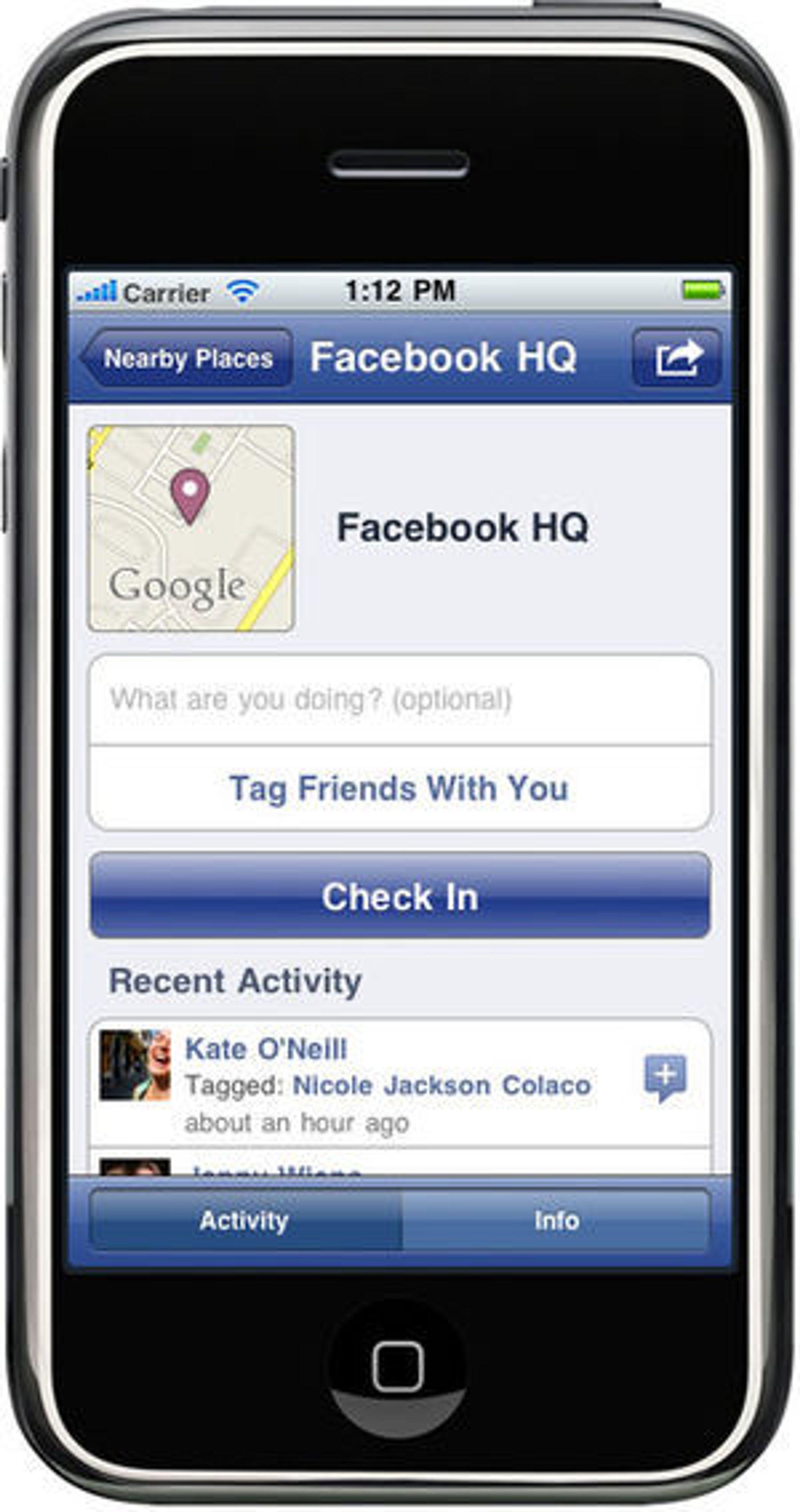 Facebook Places i Facebook-applikasjonen for iPhone.