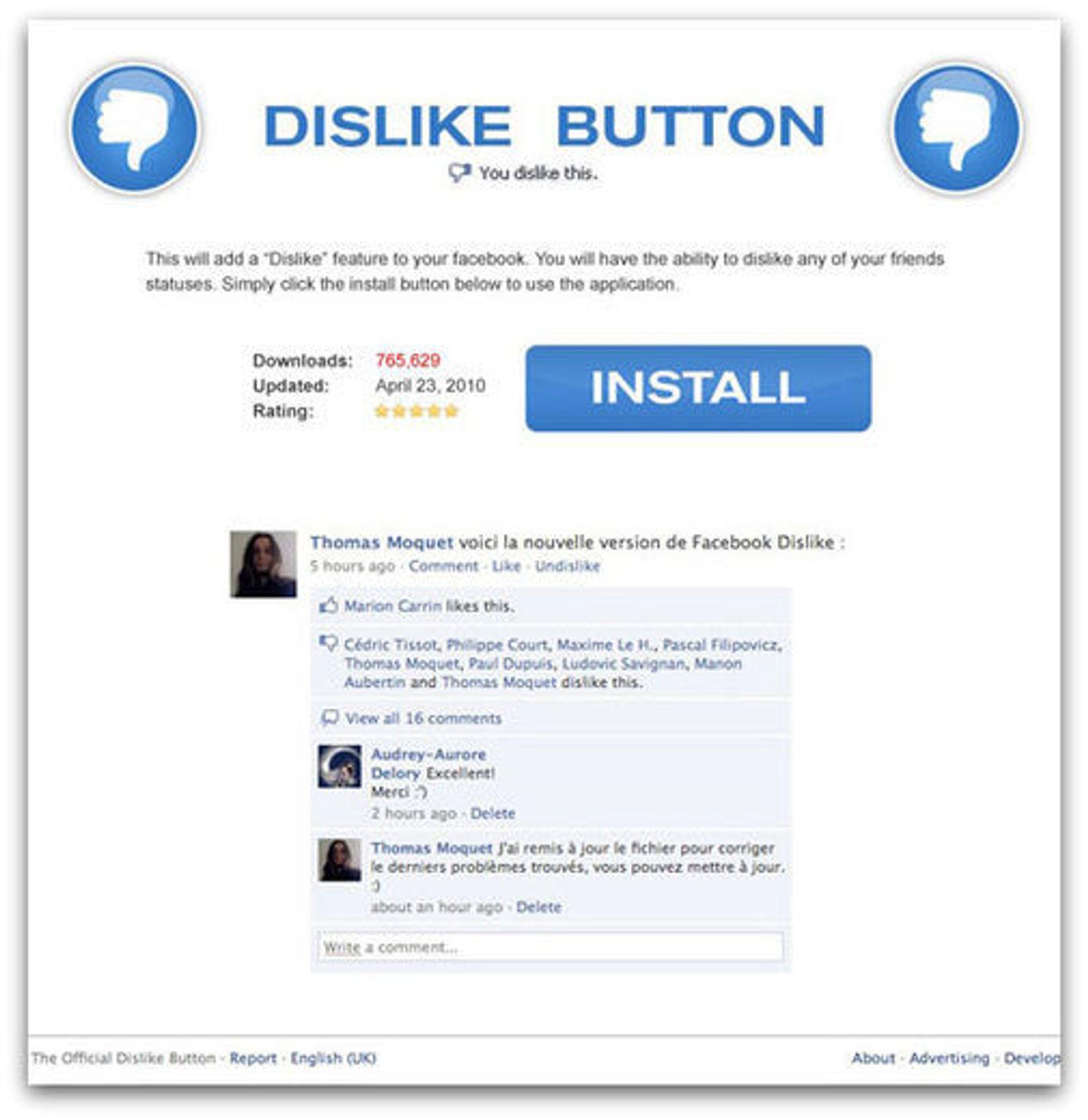 Installasjon av falsk Dislike-knapp i Facebook.
