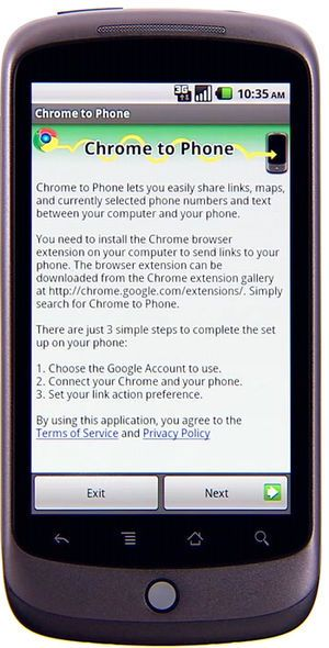 Google Chrome to Phone-applikasjonen for Android-mobiler.