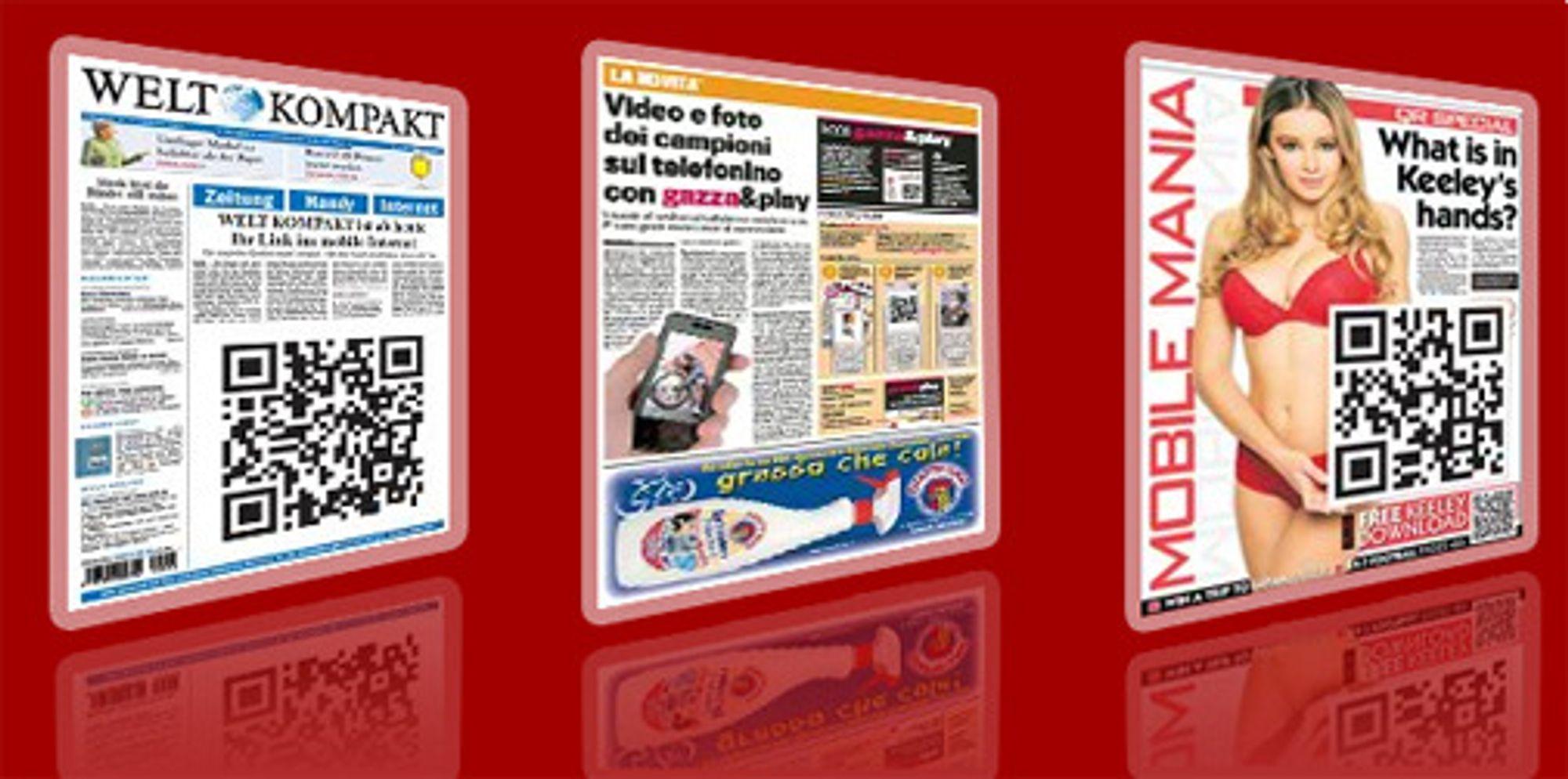 Eksempler på mobile strekkoder i aviser og blader.