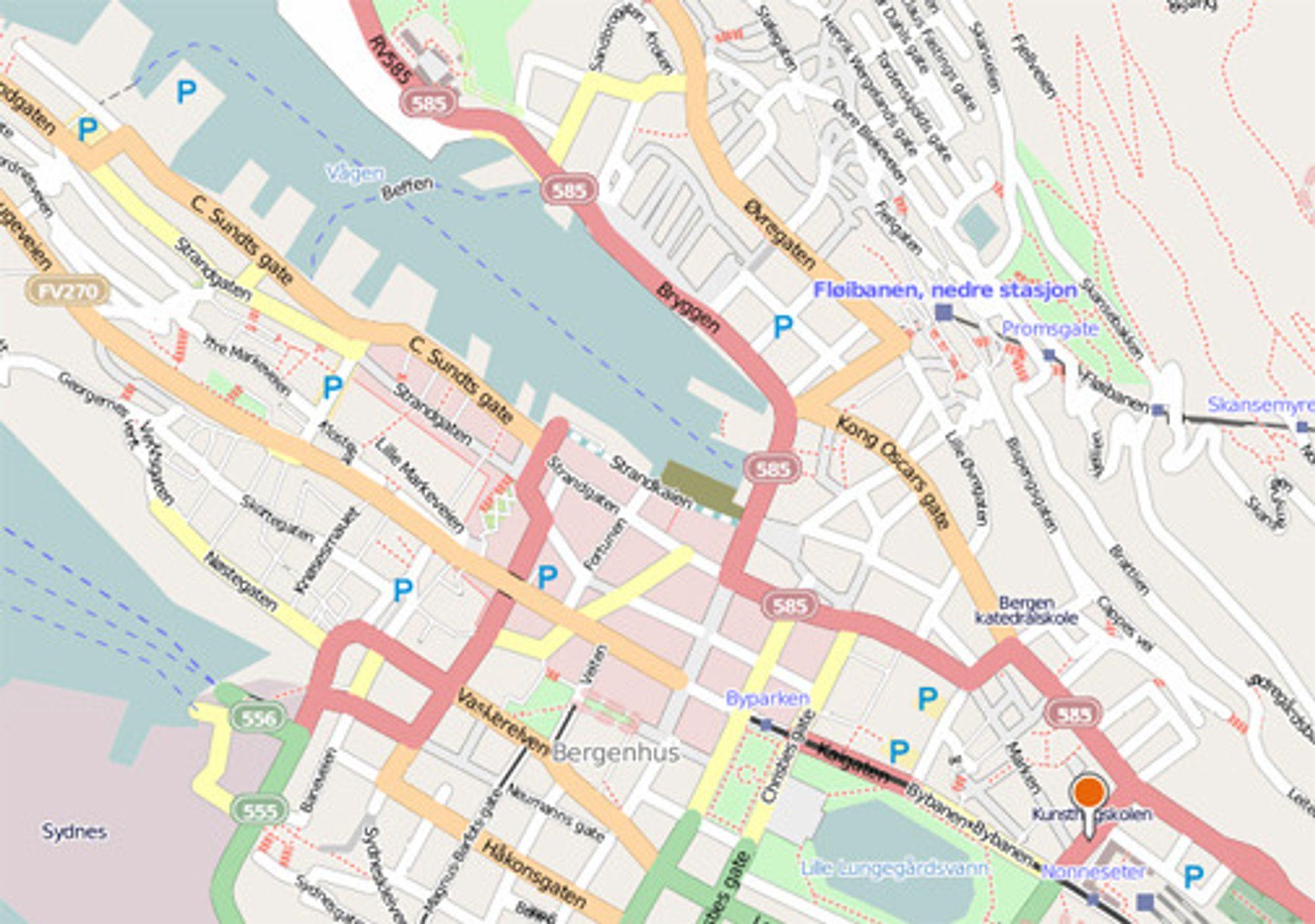 Slik ser sentrale Bergen ut med brukerskapte kartdata i Bing Maps med OpenStreetData.