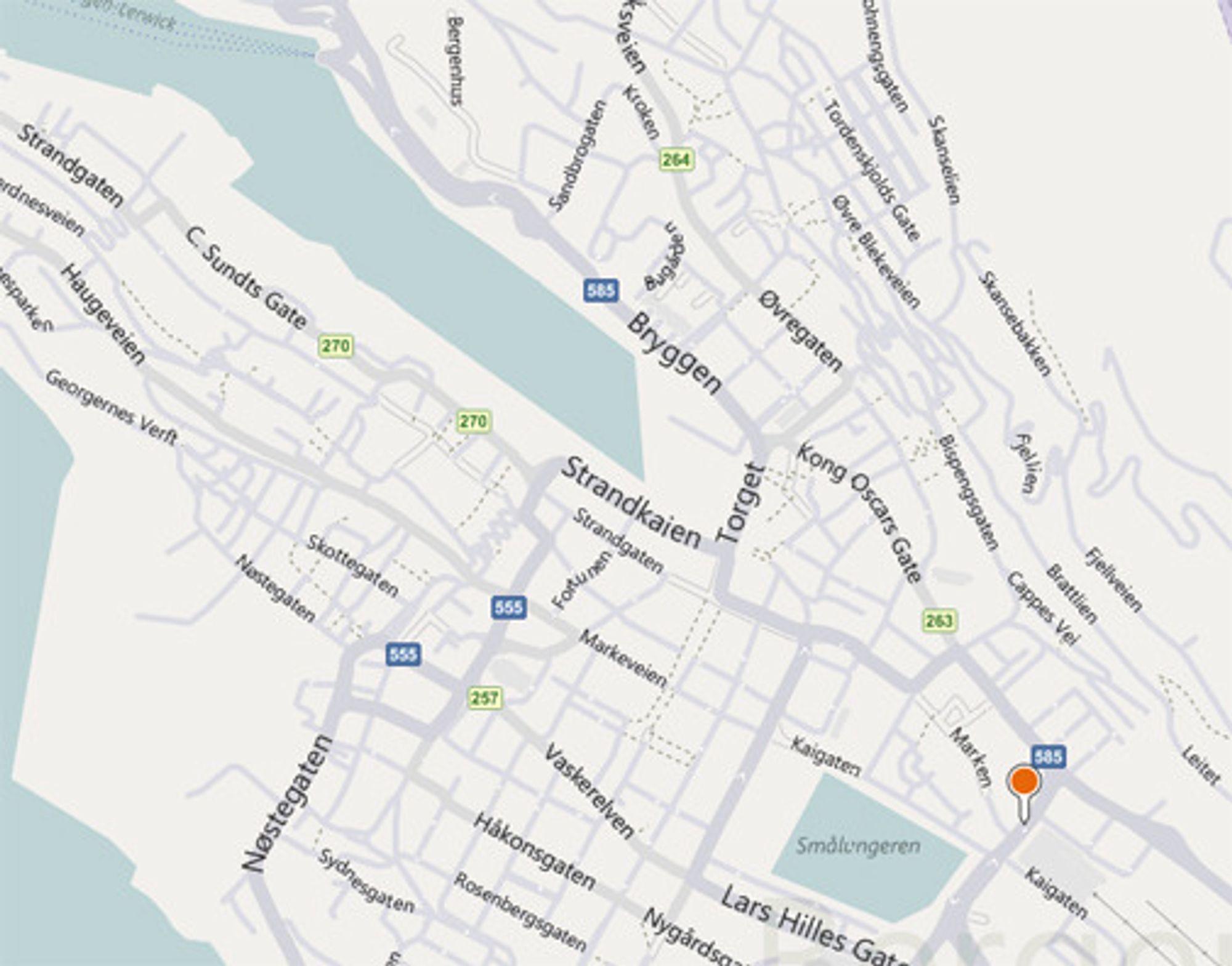 Bergen by er langt mindre detaljert i Microsofts vanlige Bing-kart.