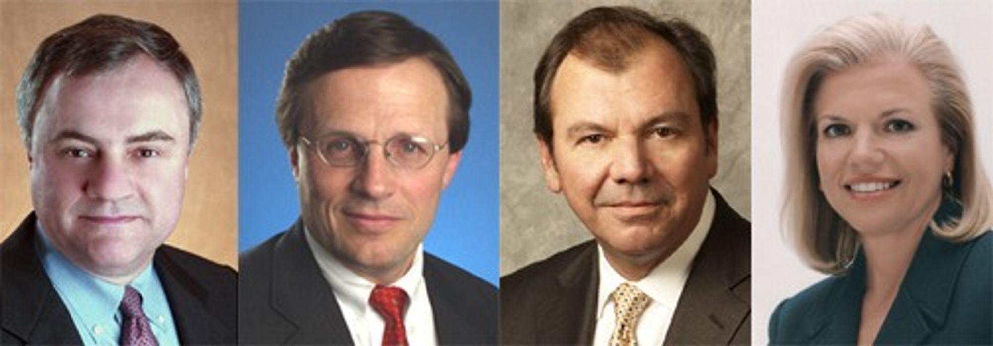 Opprykk: (fra v.) Steven Mills (58), Mark Loughridge (57), Michael Daniels (56) og Virginia Rometty (52). De to siste nevnes som de heteste kandidatene til topplederjobben når Palmisano går av med pensjon.