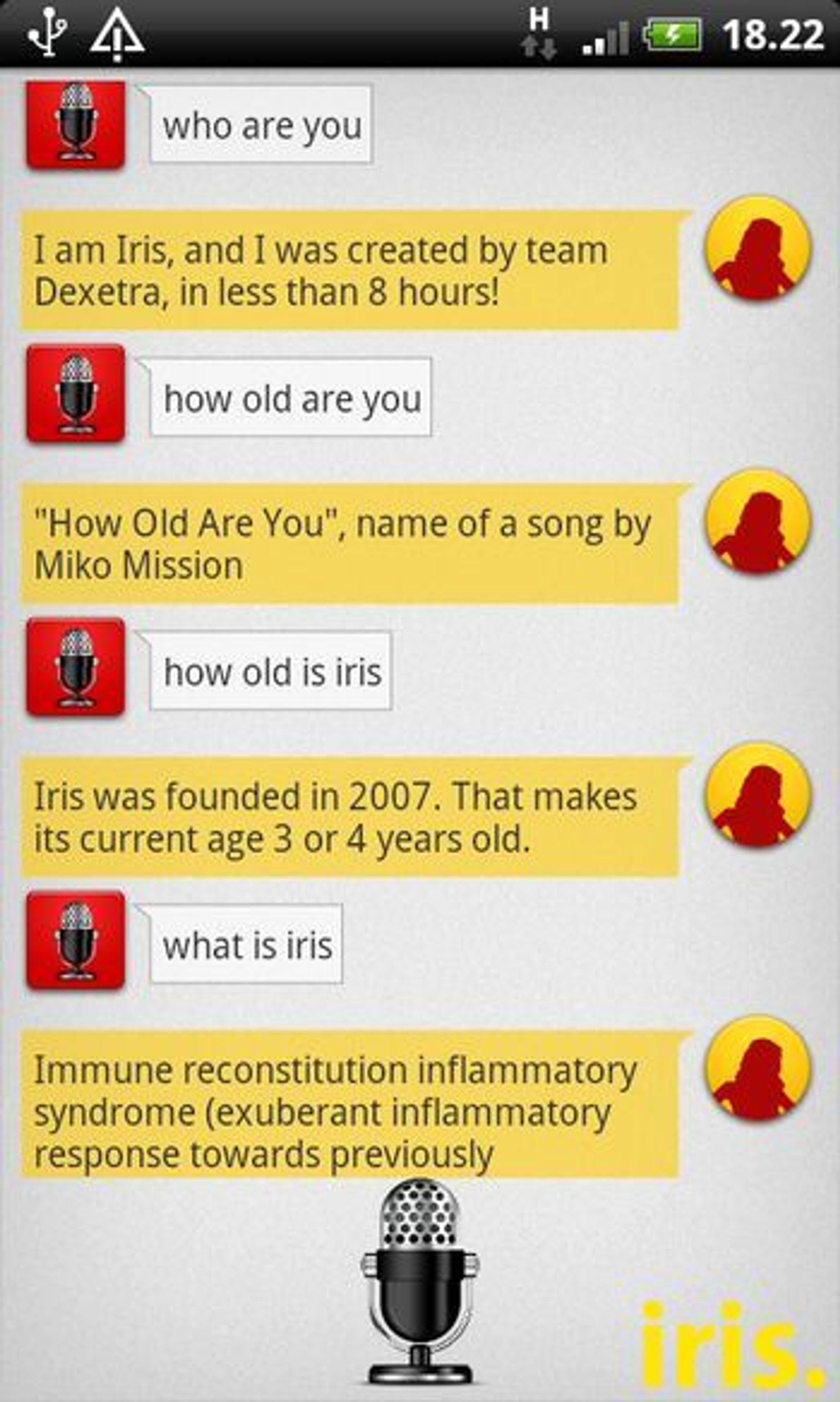 Innledende testing av Iris. Ikke alle svarene var helt som forventet, så det er definitivt rom for forbedringer.