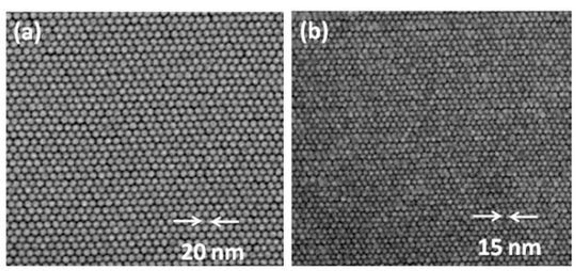 Elektronmikroskopbilder av magnetiske bit med tetthet på 1,9 terabit per kvadrattomme (til venstre) og 3,3 terabit per kvadrattomme (til høyre).