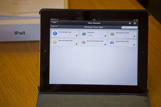 Grensesnittet til Stortinget Virtual Apps håndteres av Citrix Receiver. Løveporten er Stortingets intranett.