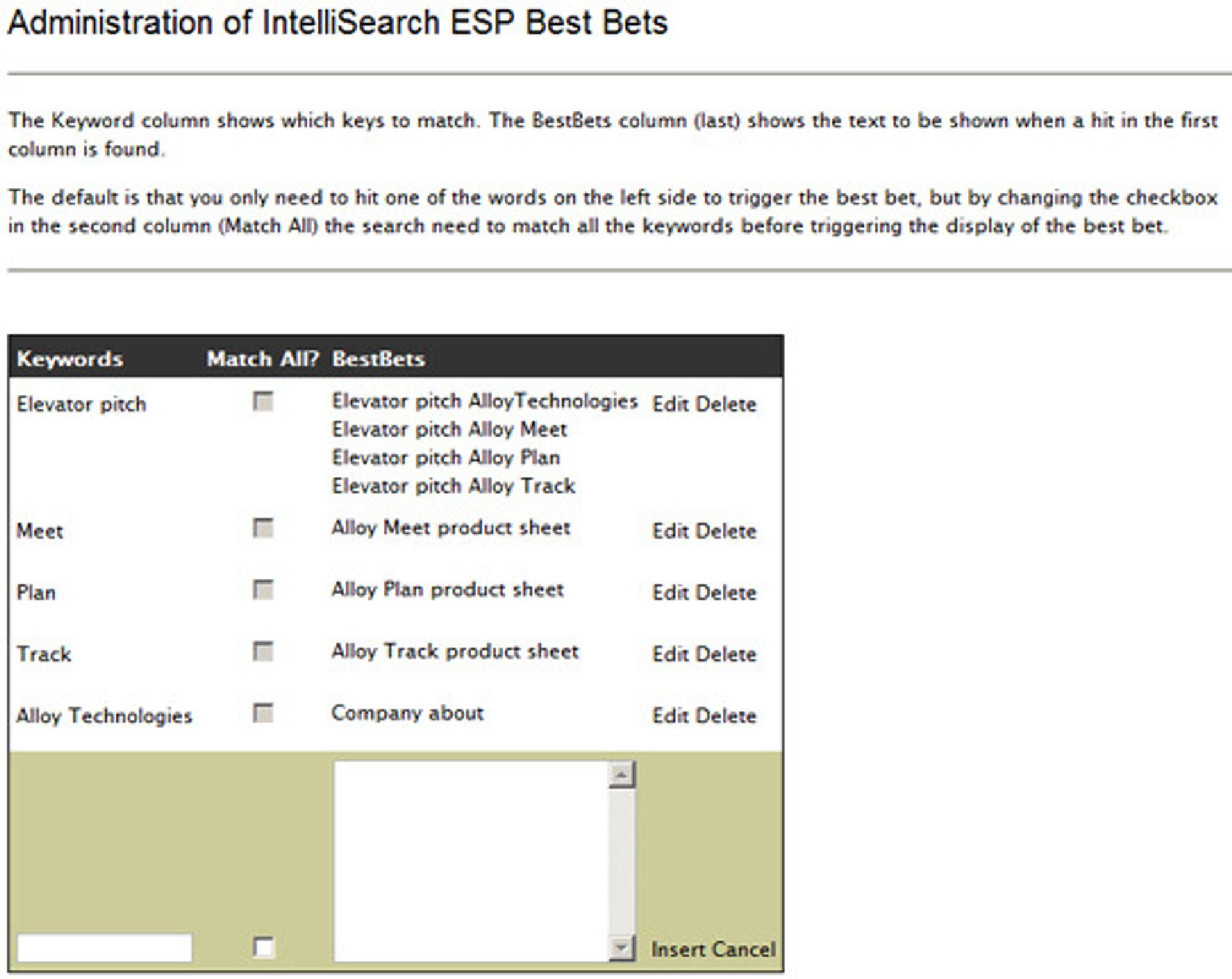 """Et av verktøyene for å innstille gjenfinnbarheten til et dokument er """"Best Bets""""."""