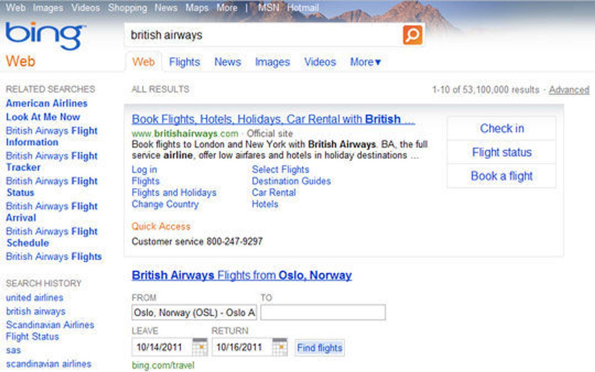 Action-knappene viser til høyre i et søk etter British Airways på den amerikanske utgaven av Bing.
